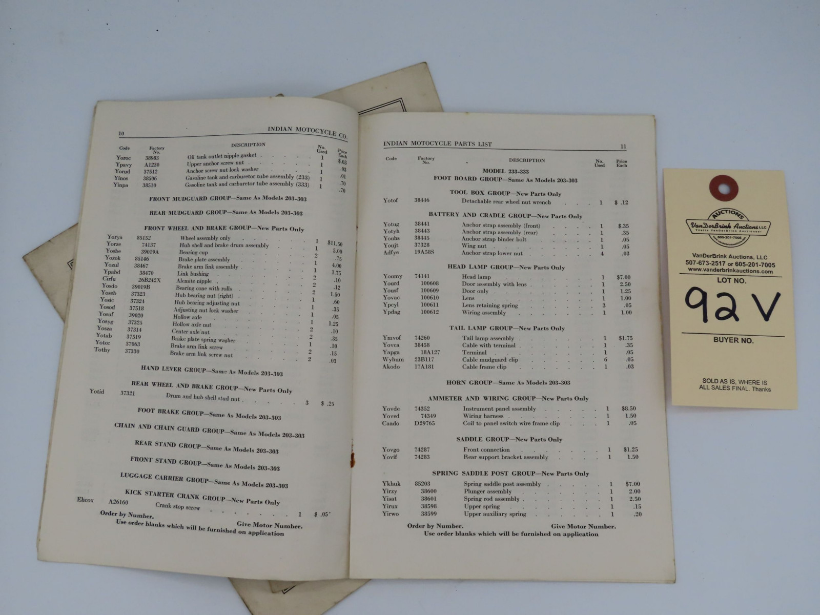 Indian Motorcycle 233 and 333 Parts List book.  Supplement to 203 and 303 Parts Book - Image 2
