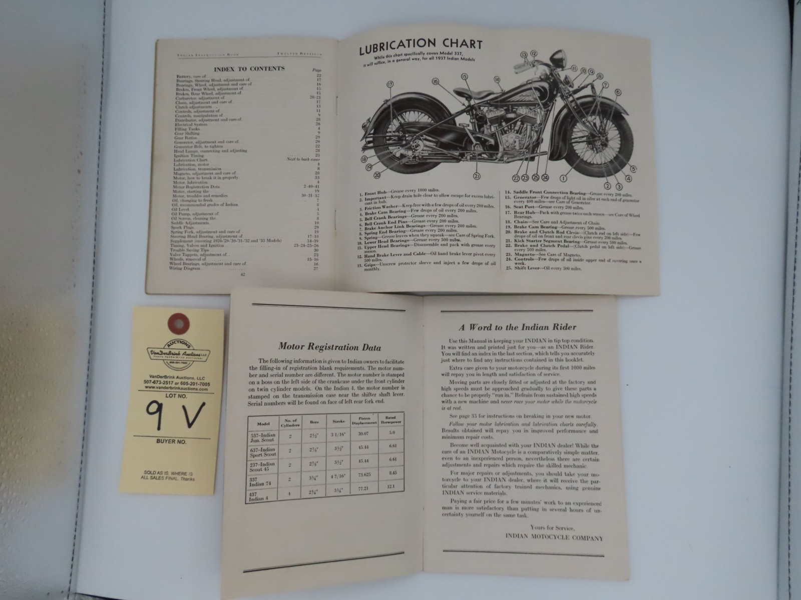 1938 Indian Riders' Instruction Book - Image 2
