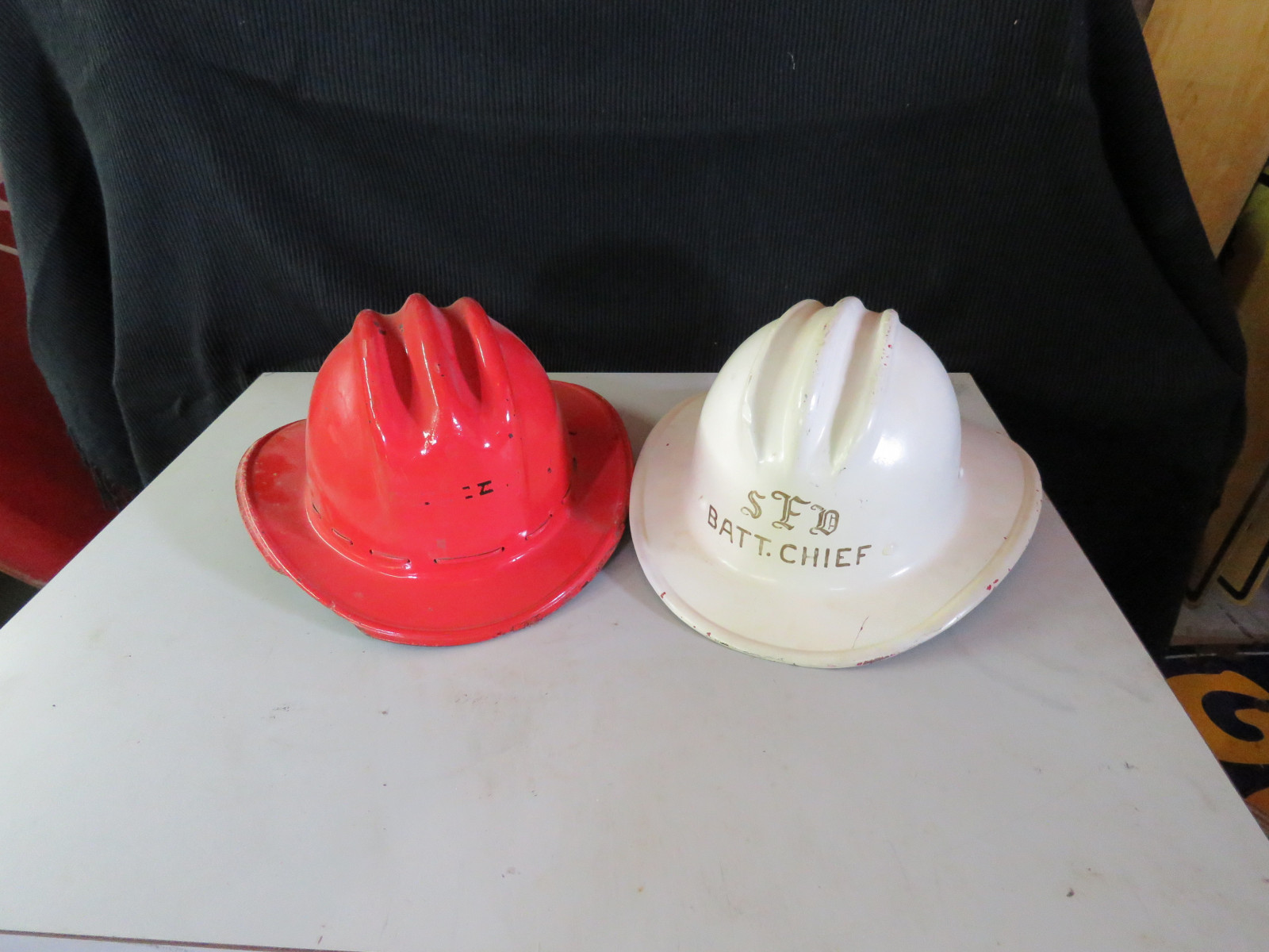 2 Vintage Fire Chief Helmets - Image 1