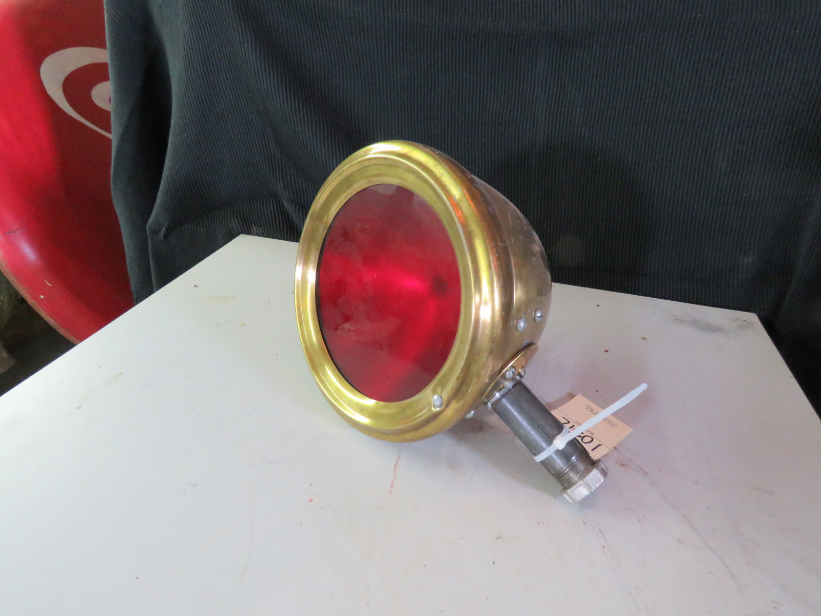 Vintage Brass light with red lens - Image 1