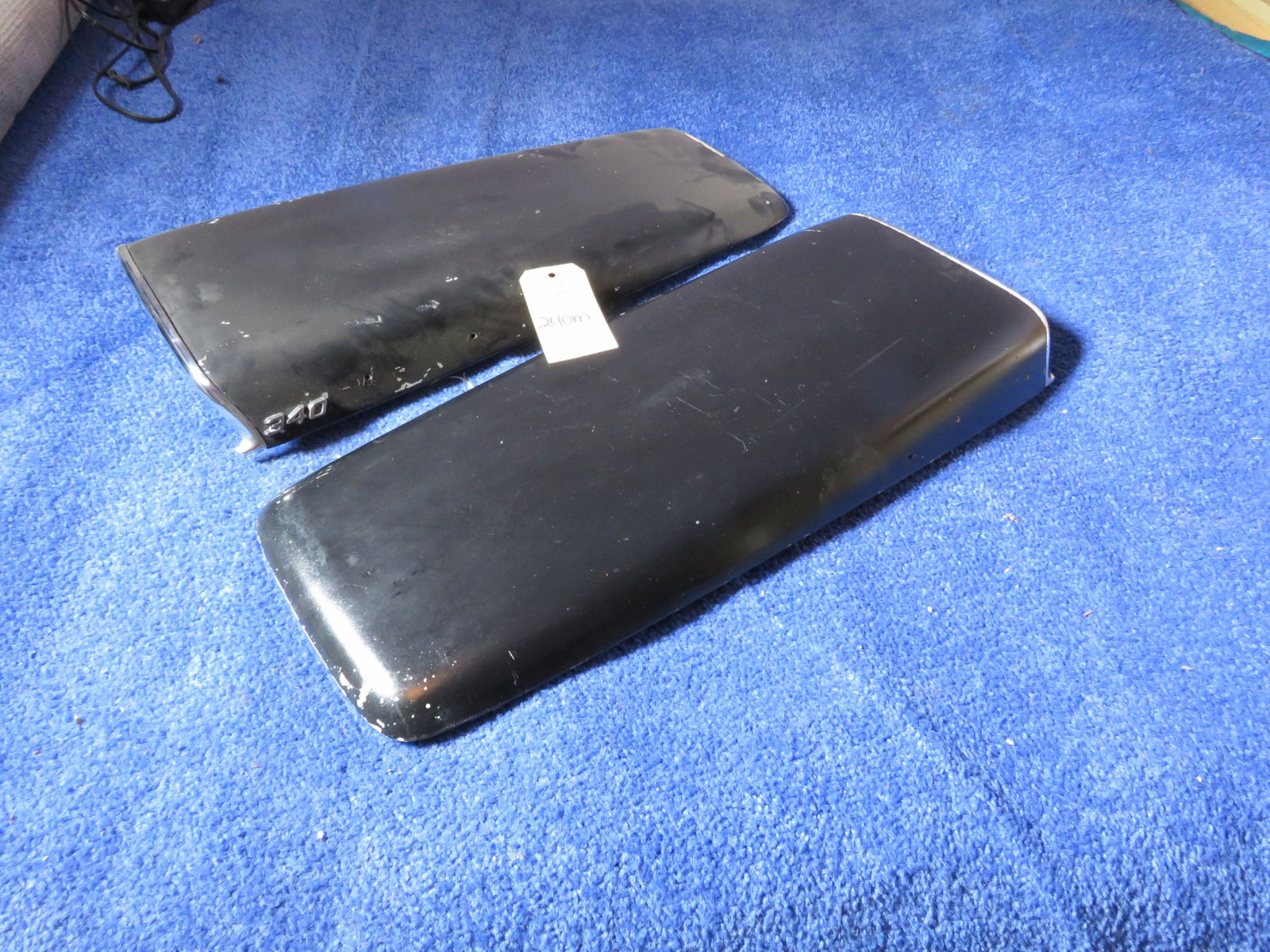 Original MOPAR 1969-72 A/B Body Twin Hood Scoops with 340 Emblems - Image 1