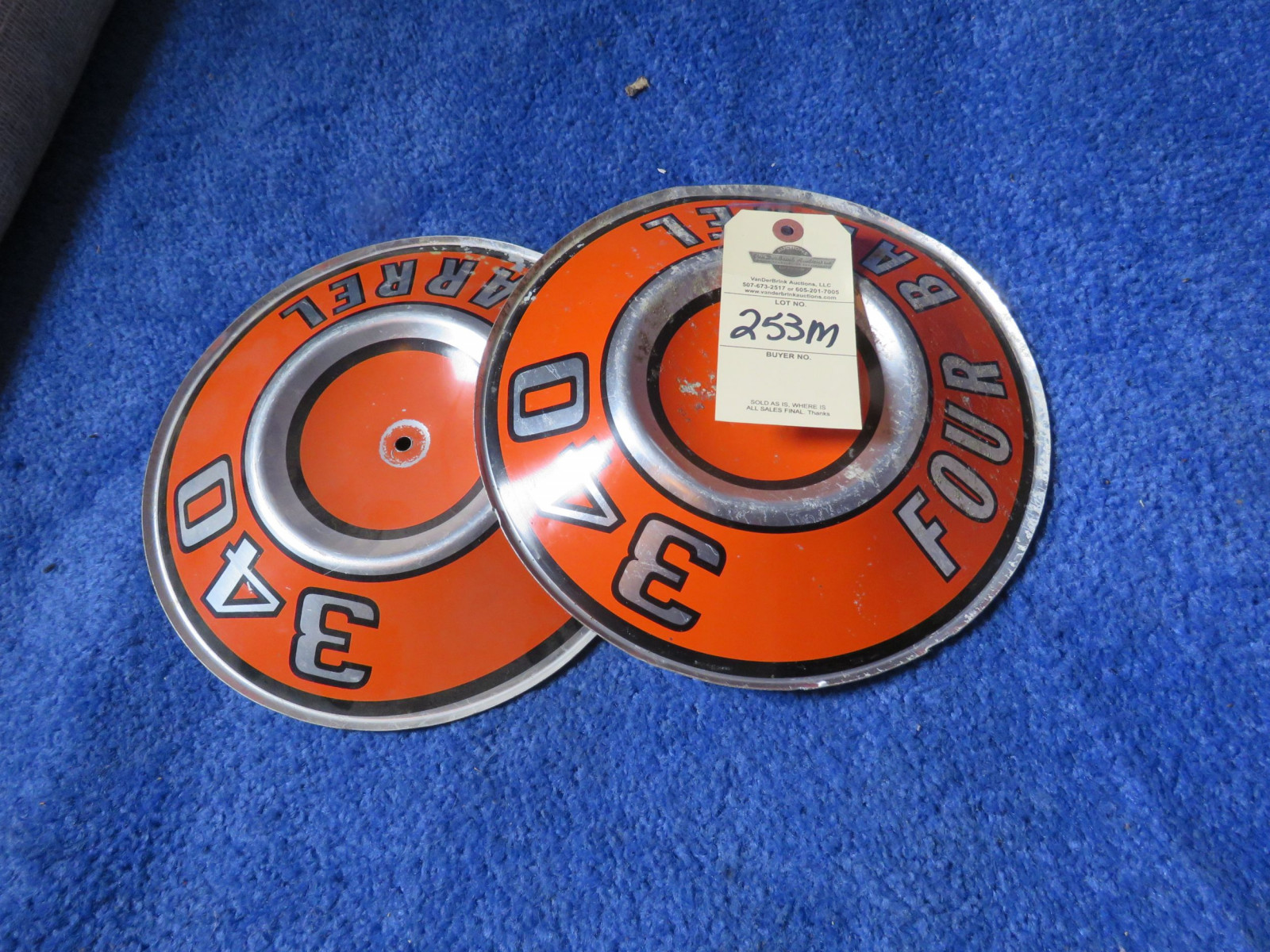 2 MOPAR 340 4bbl Air Cleaner Emblems - Image 1