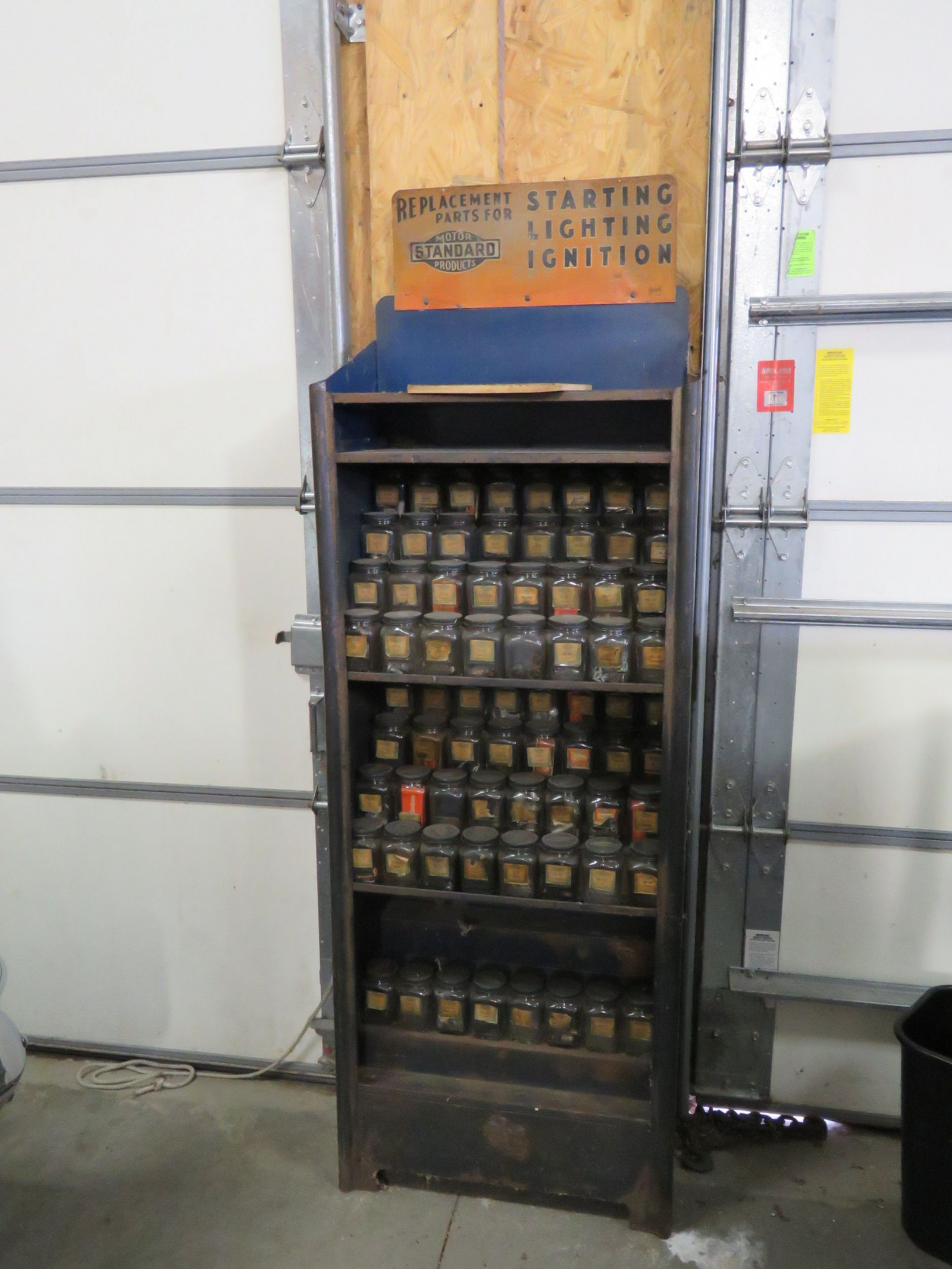 Ford Parts Cabinet with Parts Jars - Image 1