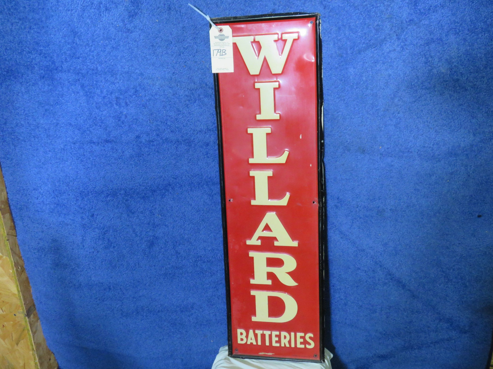 Willard Batteries SS Painted Tin Sign - Image 1