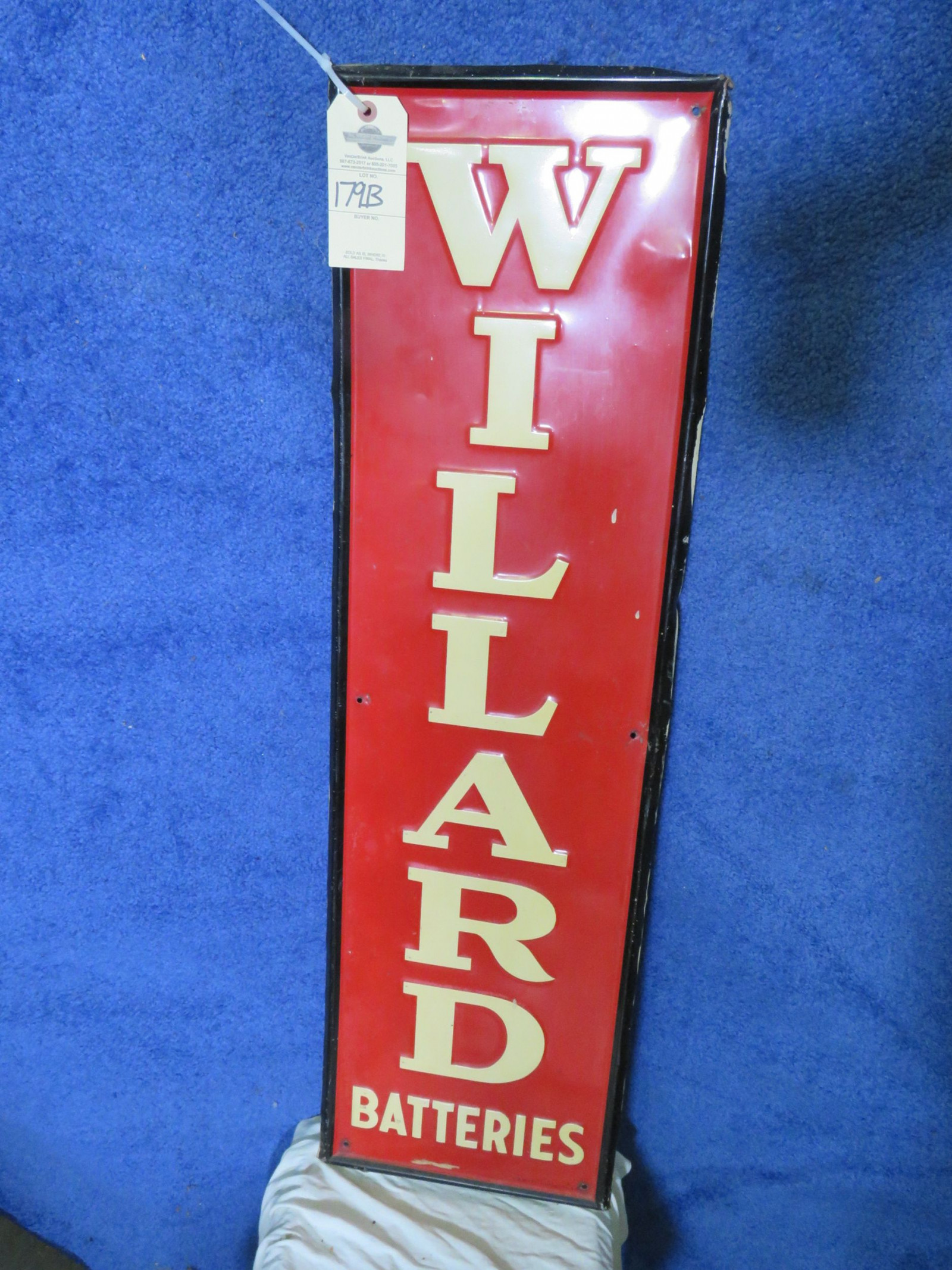 Willard Batteries SS Painted Tin Sign - Image 2