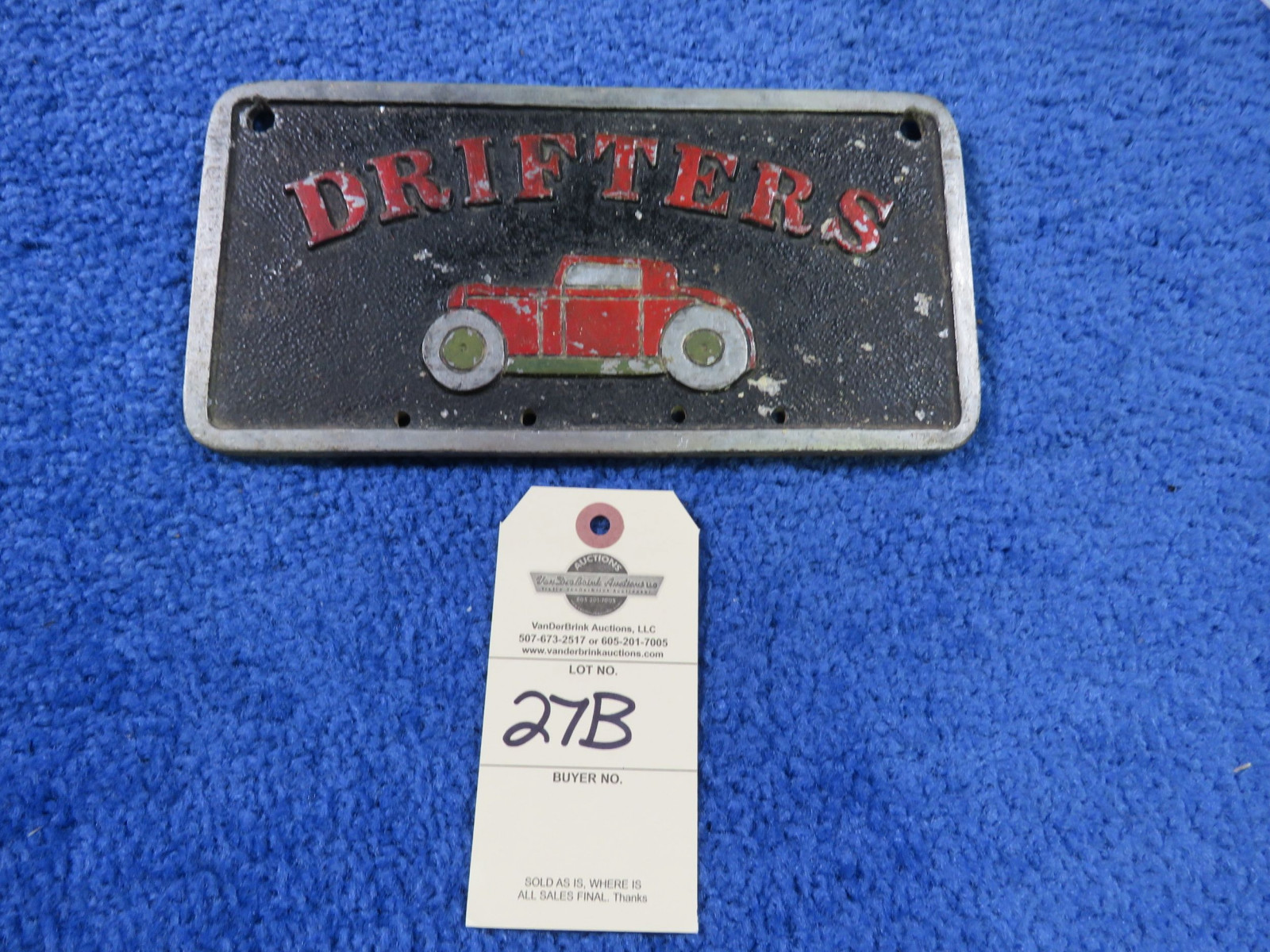 Drifters Vintage Vehicle Club Plate- Pot Metal - Image 1