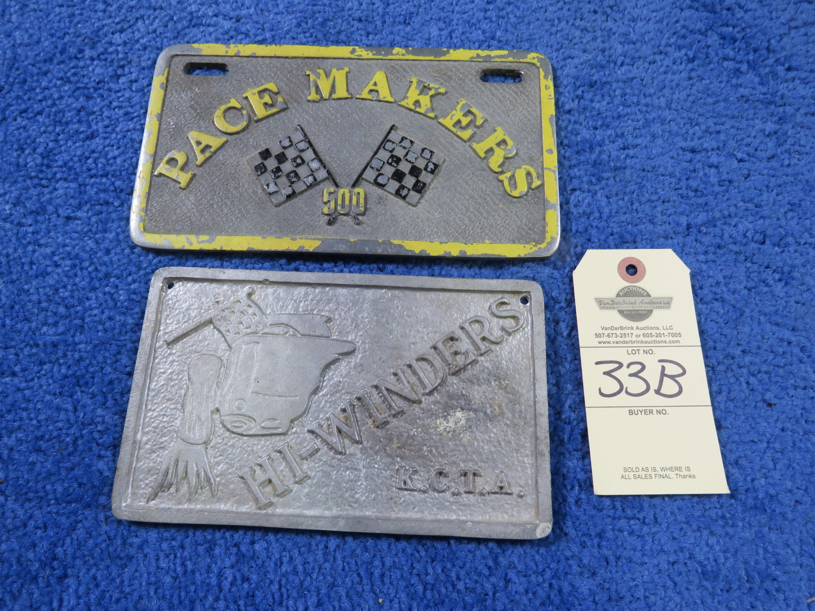 Pace Makers 500 and Hi Winders KCTA Vintage Vehicle Club Plates- Pot Metal - Image 1