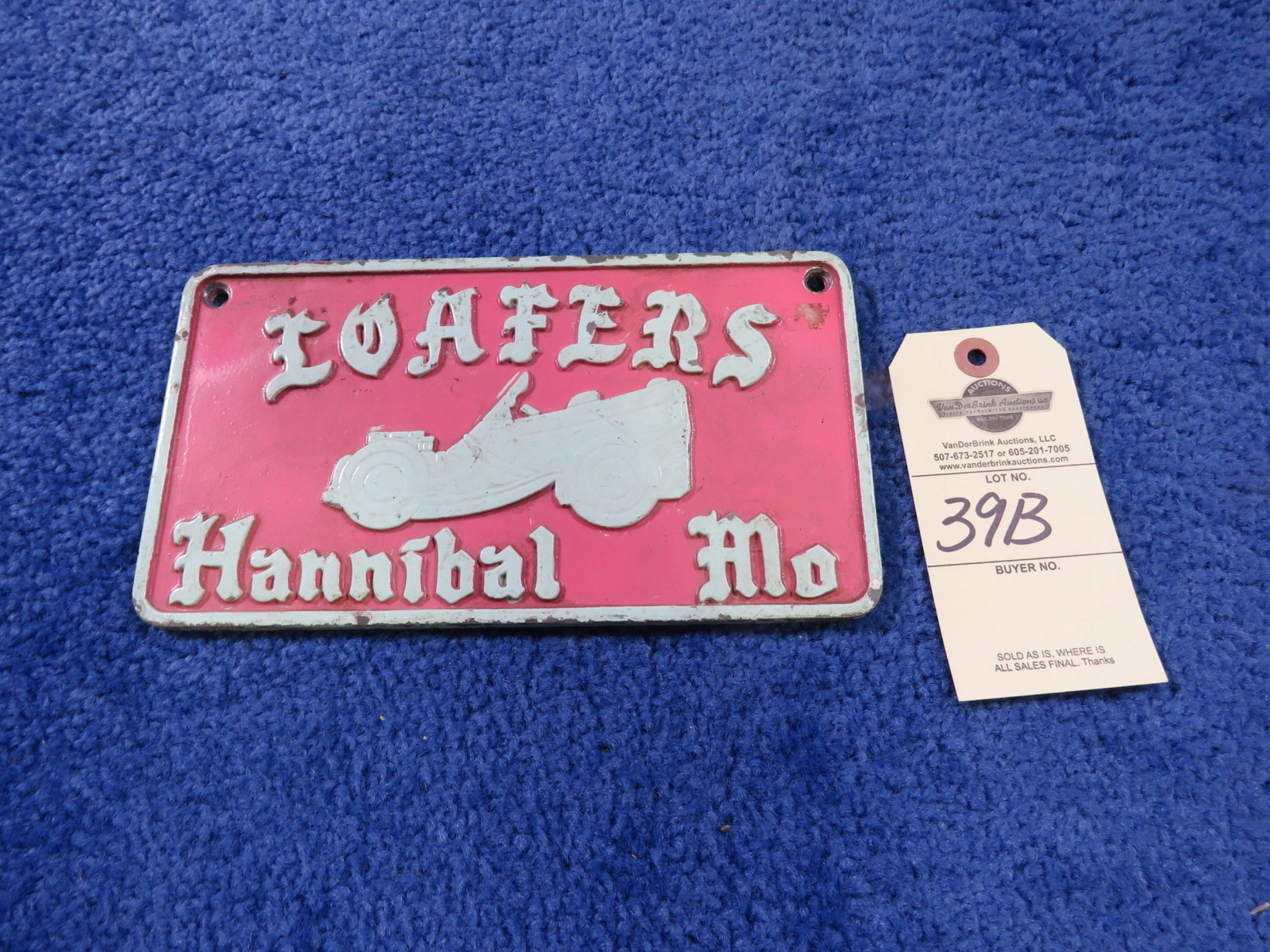 Loafers from Hannibal, MO Vintage Vehicle Club Plate- Pot Metal - Image 1