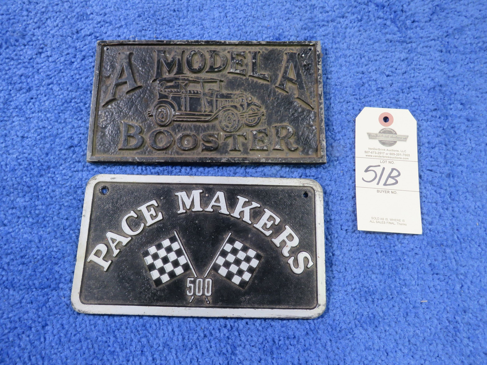 Model A Boosters and Pace Makers 500 Vintage Vehicle Club Plates- Pot Metal - Image 1