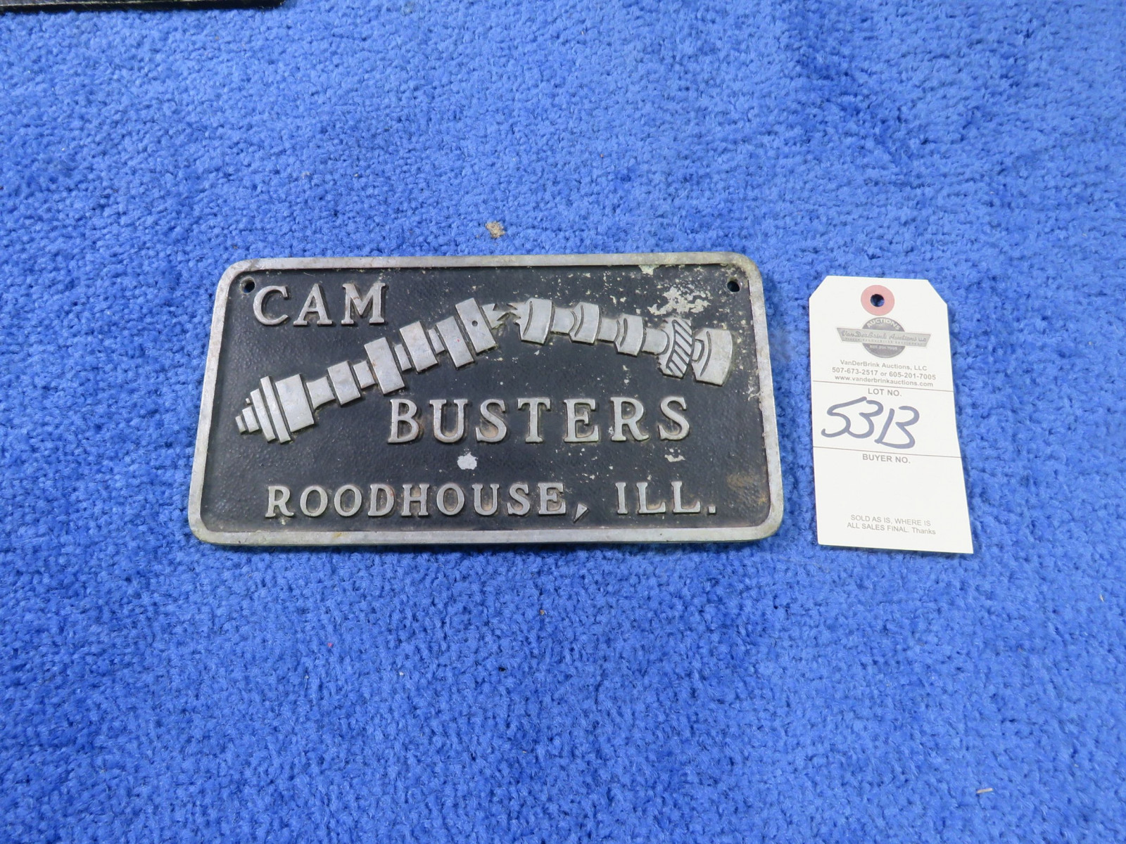 Cam Busters Vintage Vehicle Club Plate- Pot Metal - Image 1