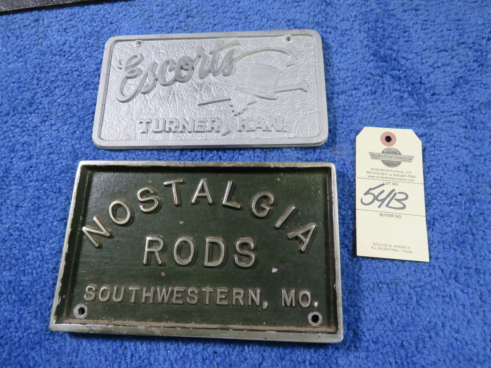 Vintage Vehicle Club Plates- Pot Metal - Image 1