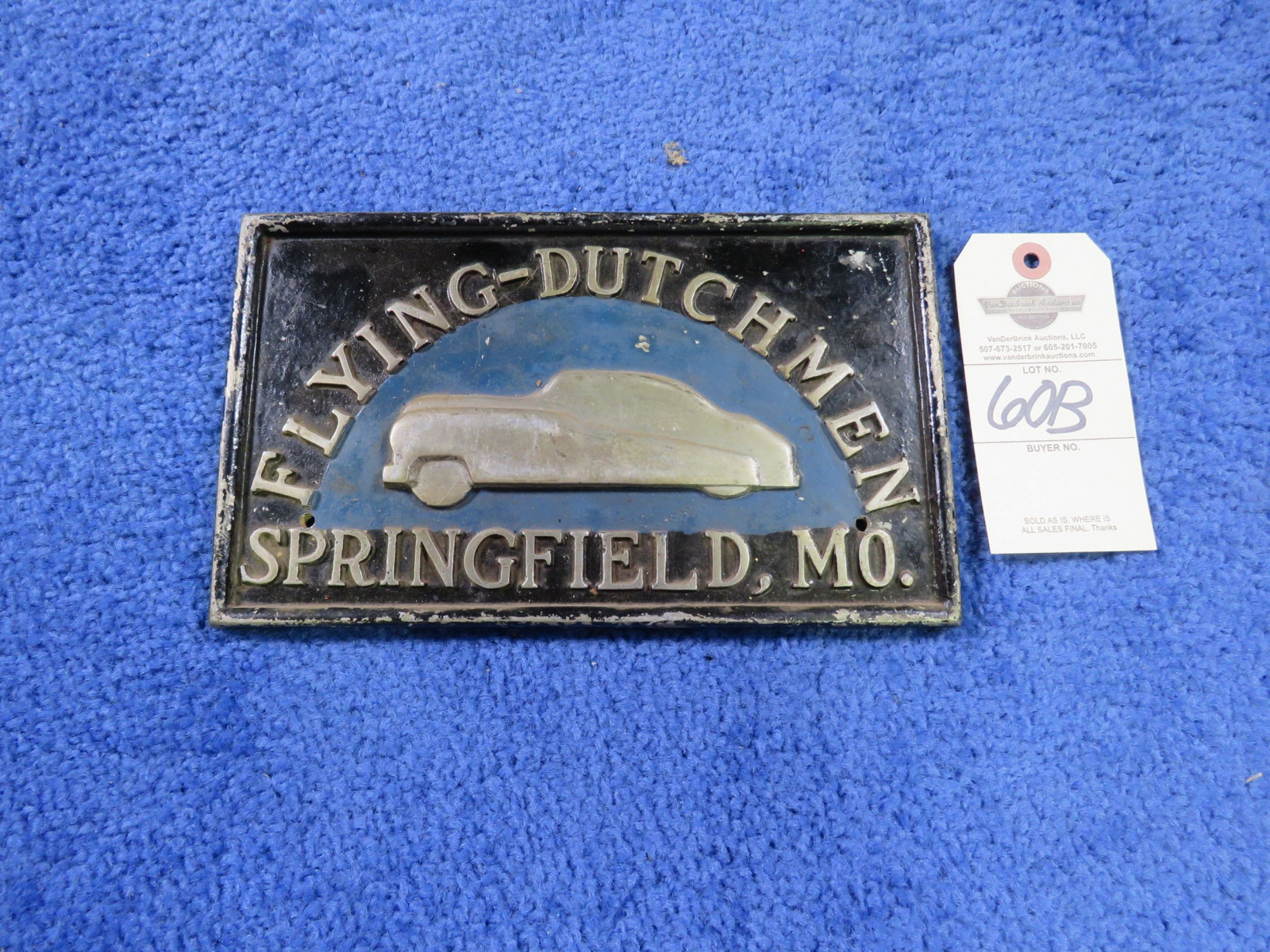 Flying Dutchman Vintage Vehicle Club Plate- Pot Metal - Image 1