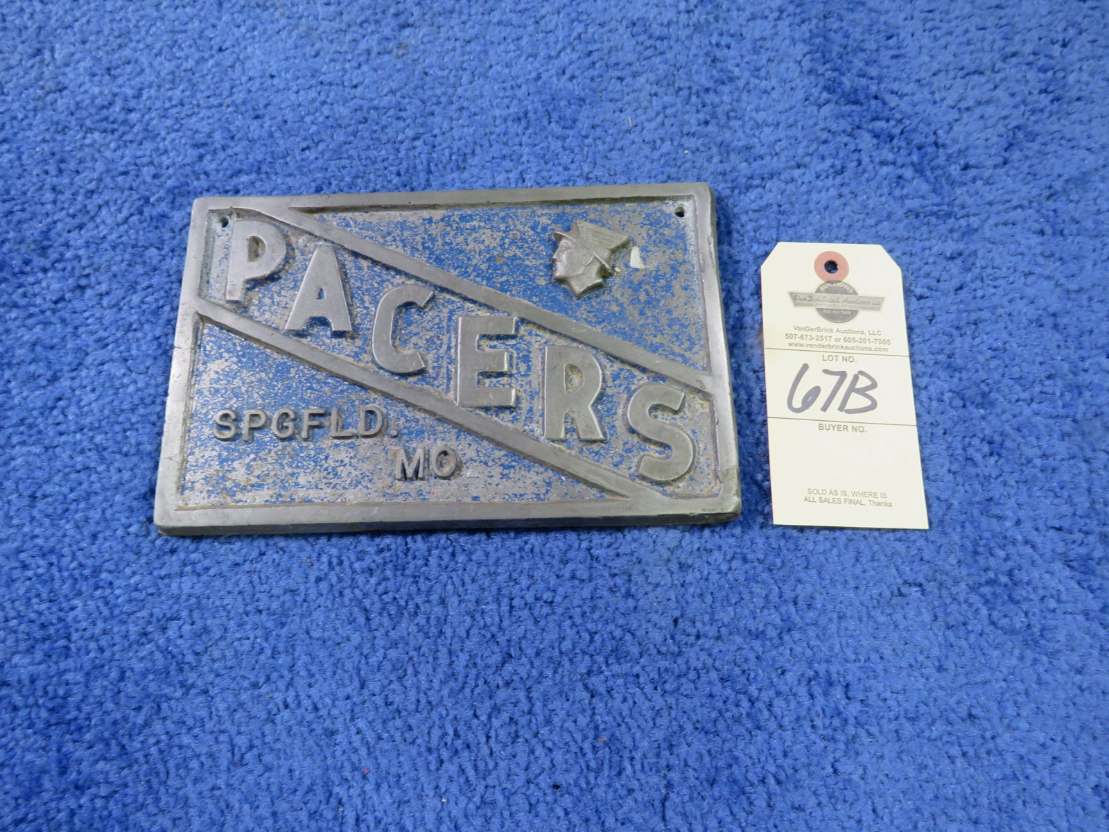 Pacers Vintage Vehicle Club Plate from Springfield, MO- Pot Metal - Image 1