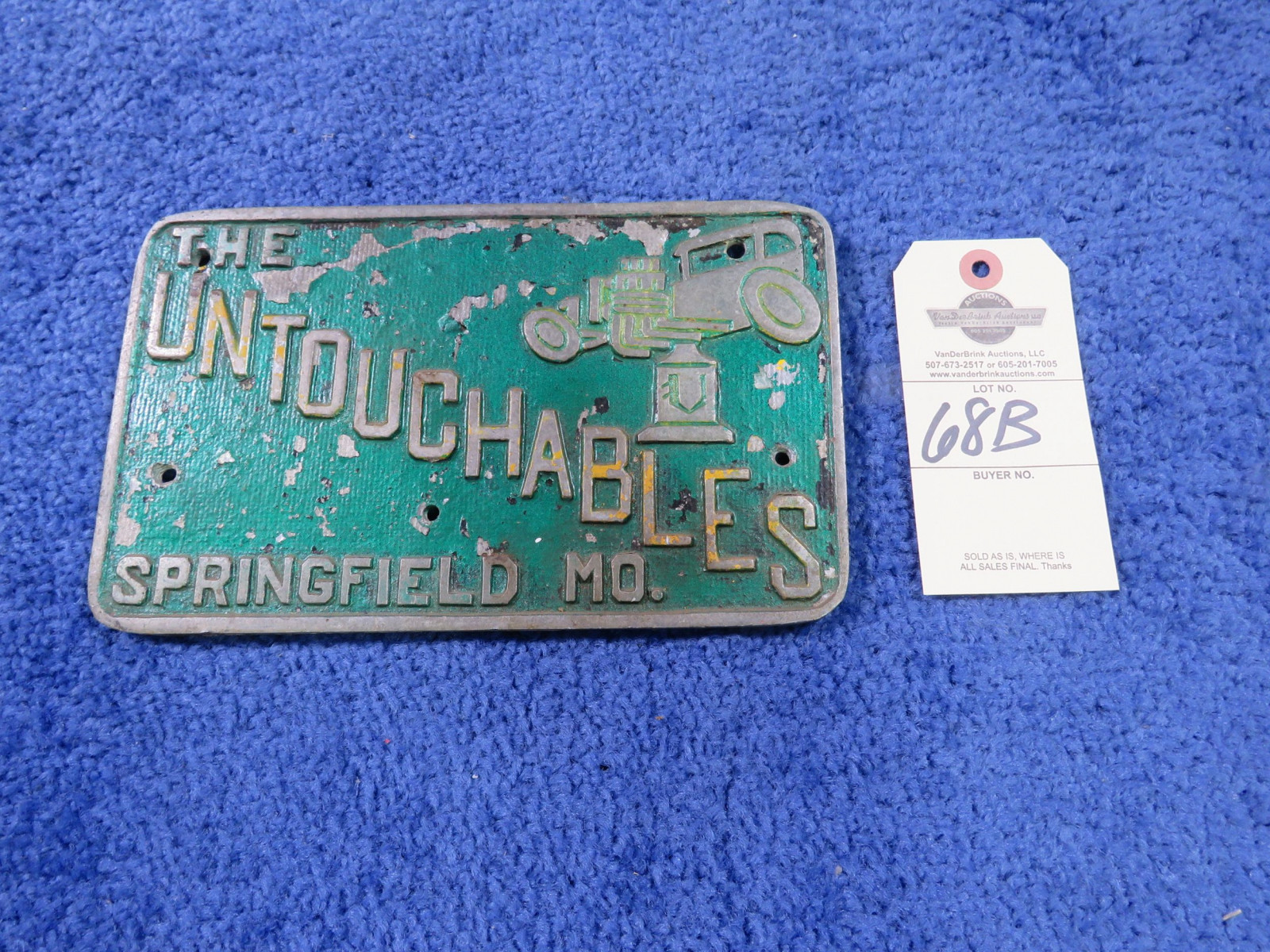 The Untouchables Vintage Vehicle Club Plate- Pot Metal - Image 1