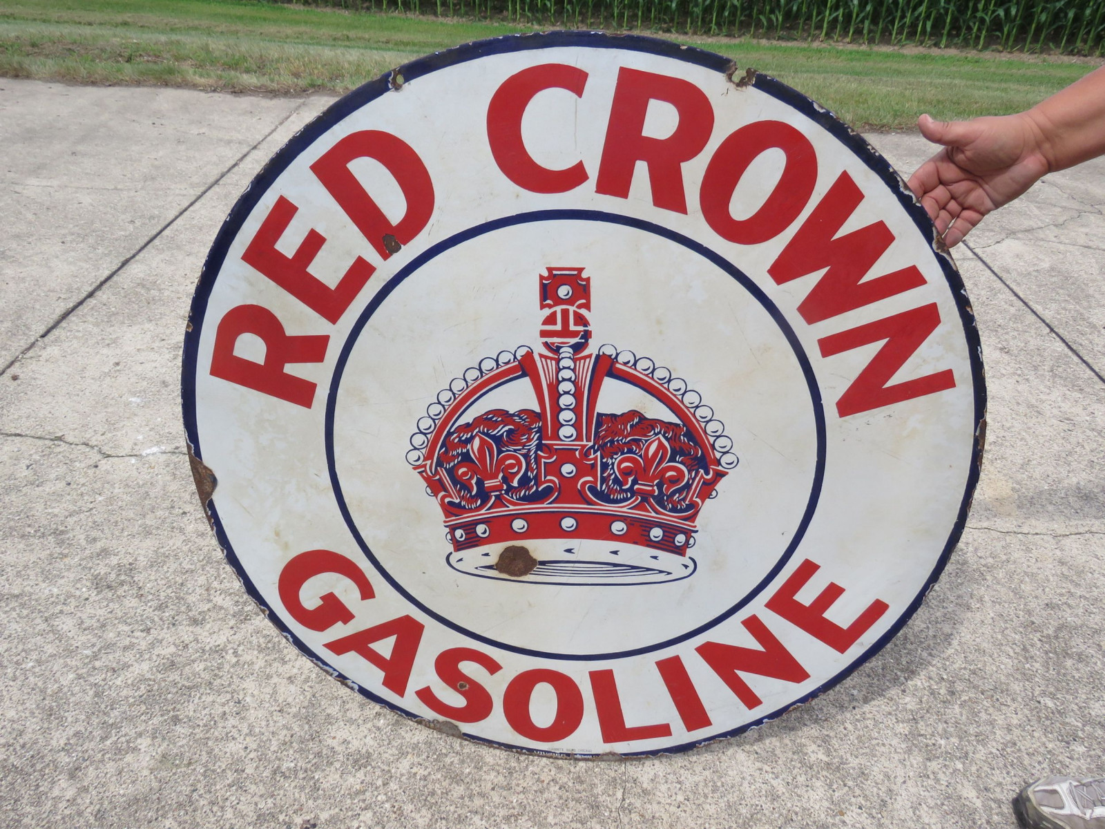 Red Crown DS 42 inch Porcelain Sign - Image 2