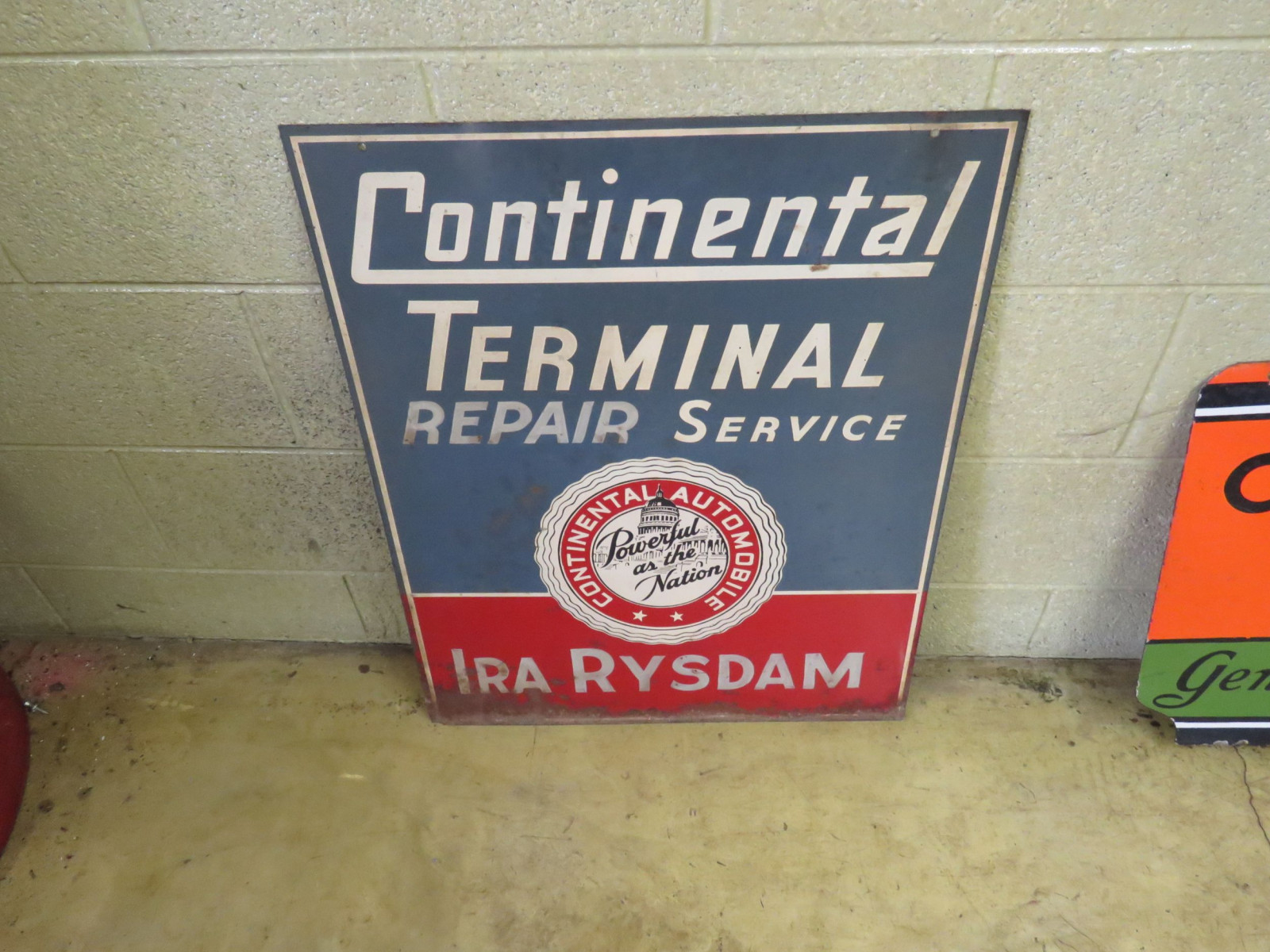 Continental Terminal Painted Tin Sign - Image 1