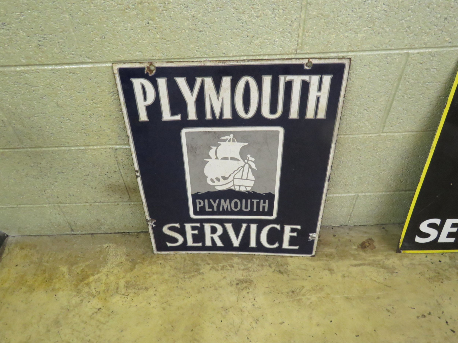 Plymouth Service Porcelain Sign - Image 1