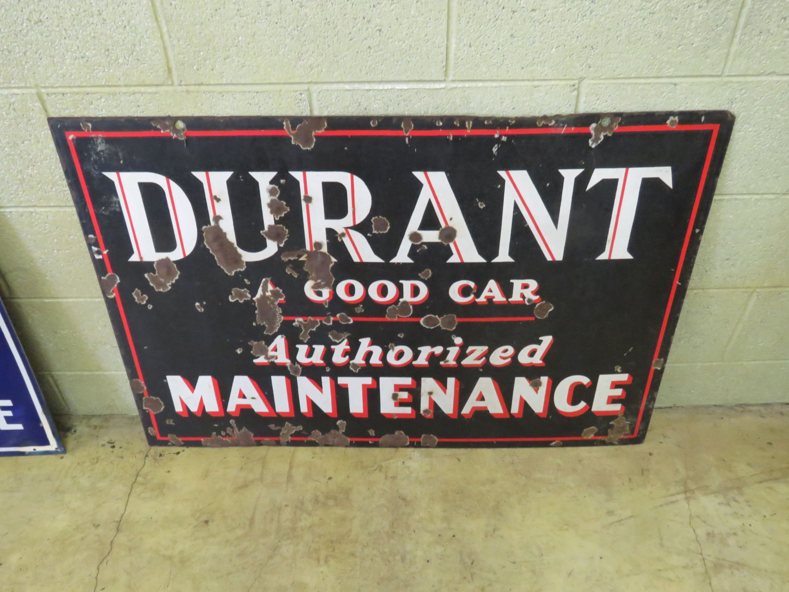 Durant Authorized Maintenance Porcelain Sign - Image 1
