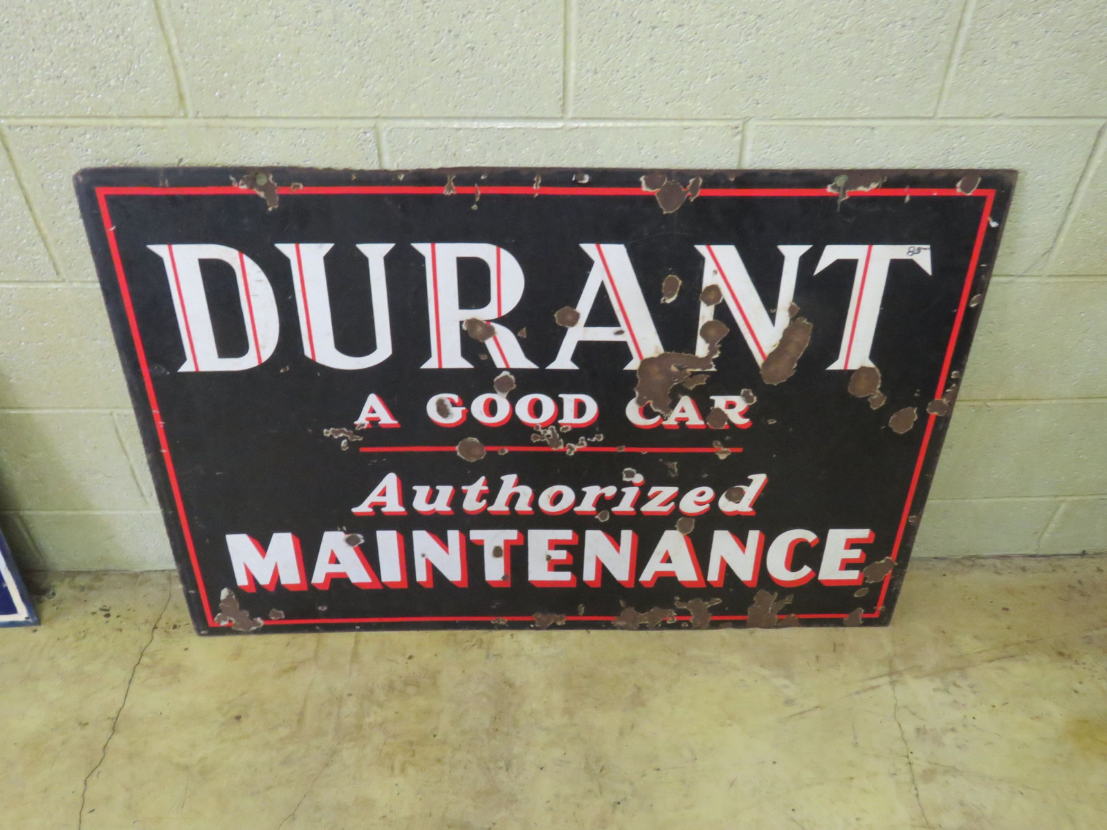 Durant Authorized Maintenance Porcelain Sign - Image 2