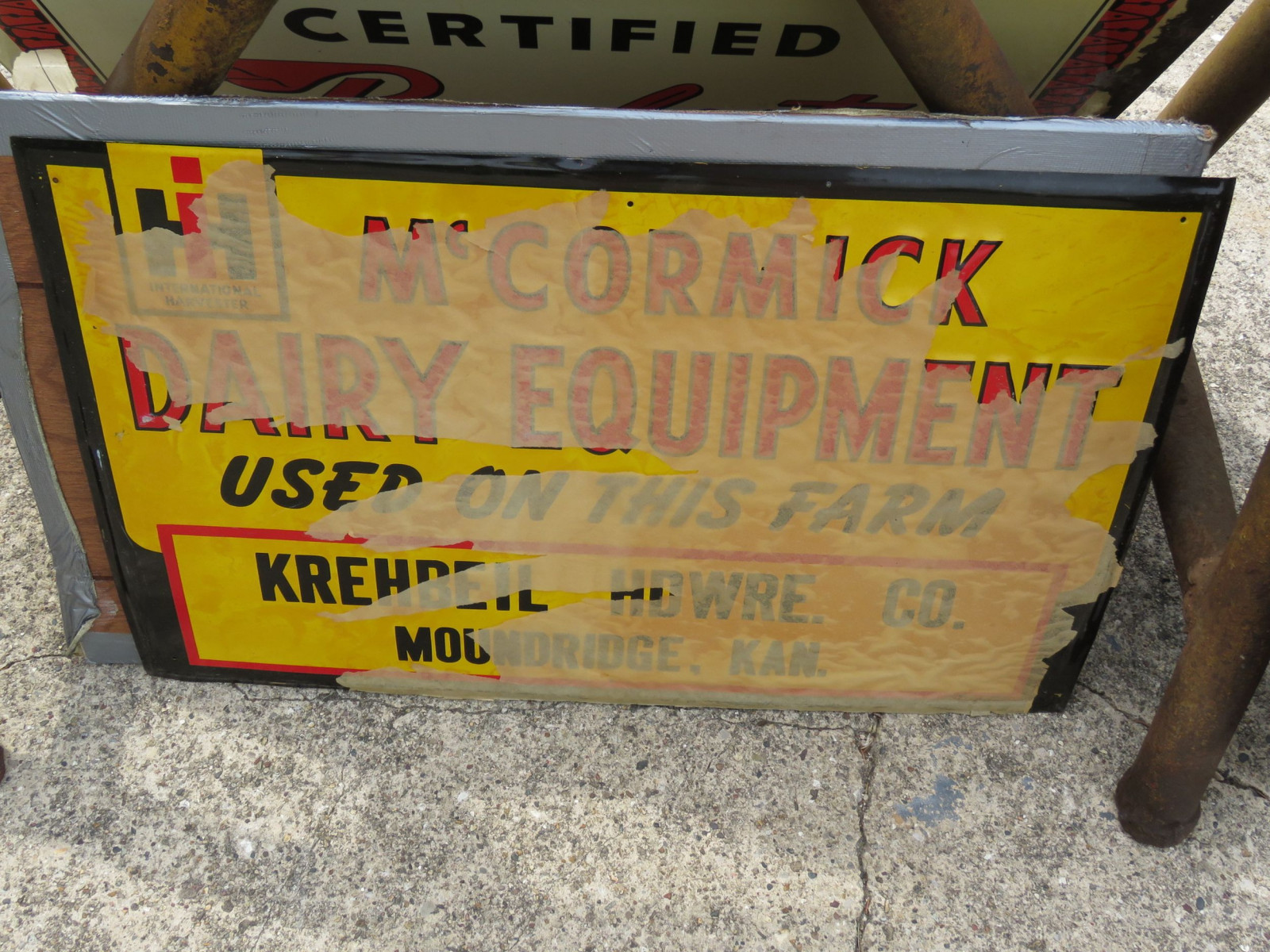NOS McCormick Deering Dairy Equipment Painted Tin Sign - Image 2