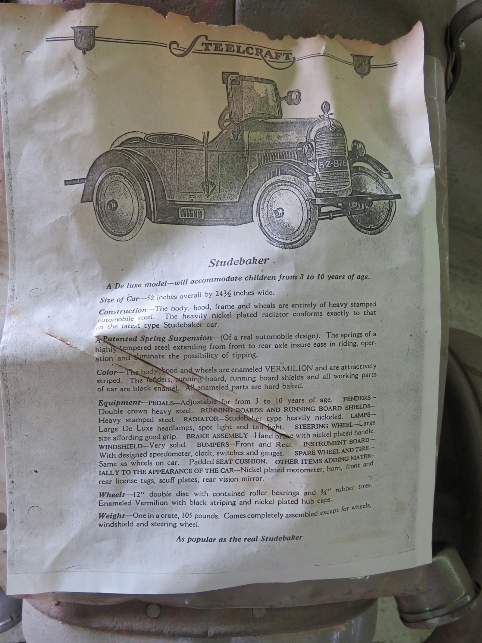 Rare Steel craft Studebaker Pedal Car - Image 10