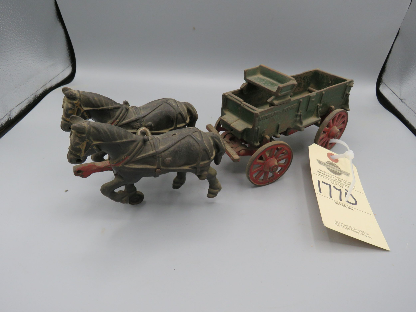 Arcade Cast Iron McCormick Deering Wagon with Horses No Driver  Approx. 10 inches - Image 1