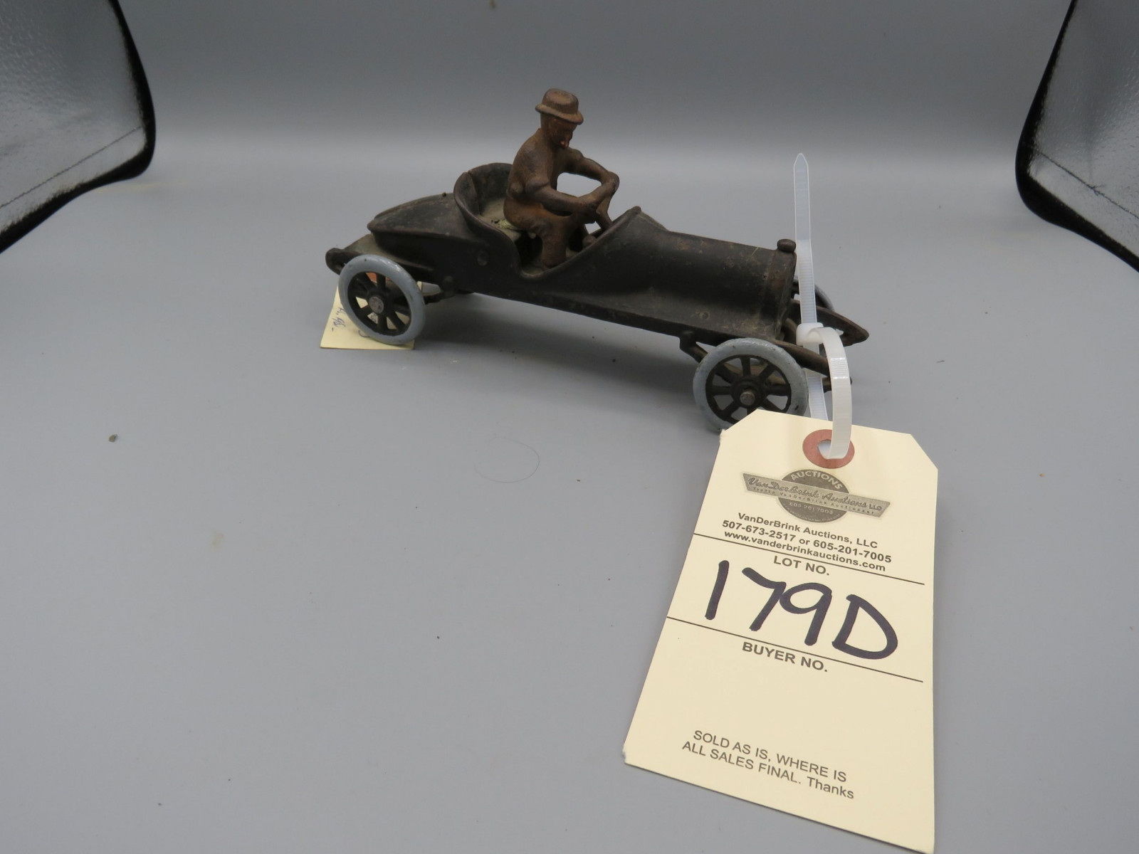 Cast Iron Vintage Race Car with Driver @1910-13 Approx. 4 inches - Image 1