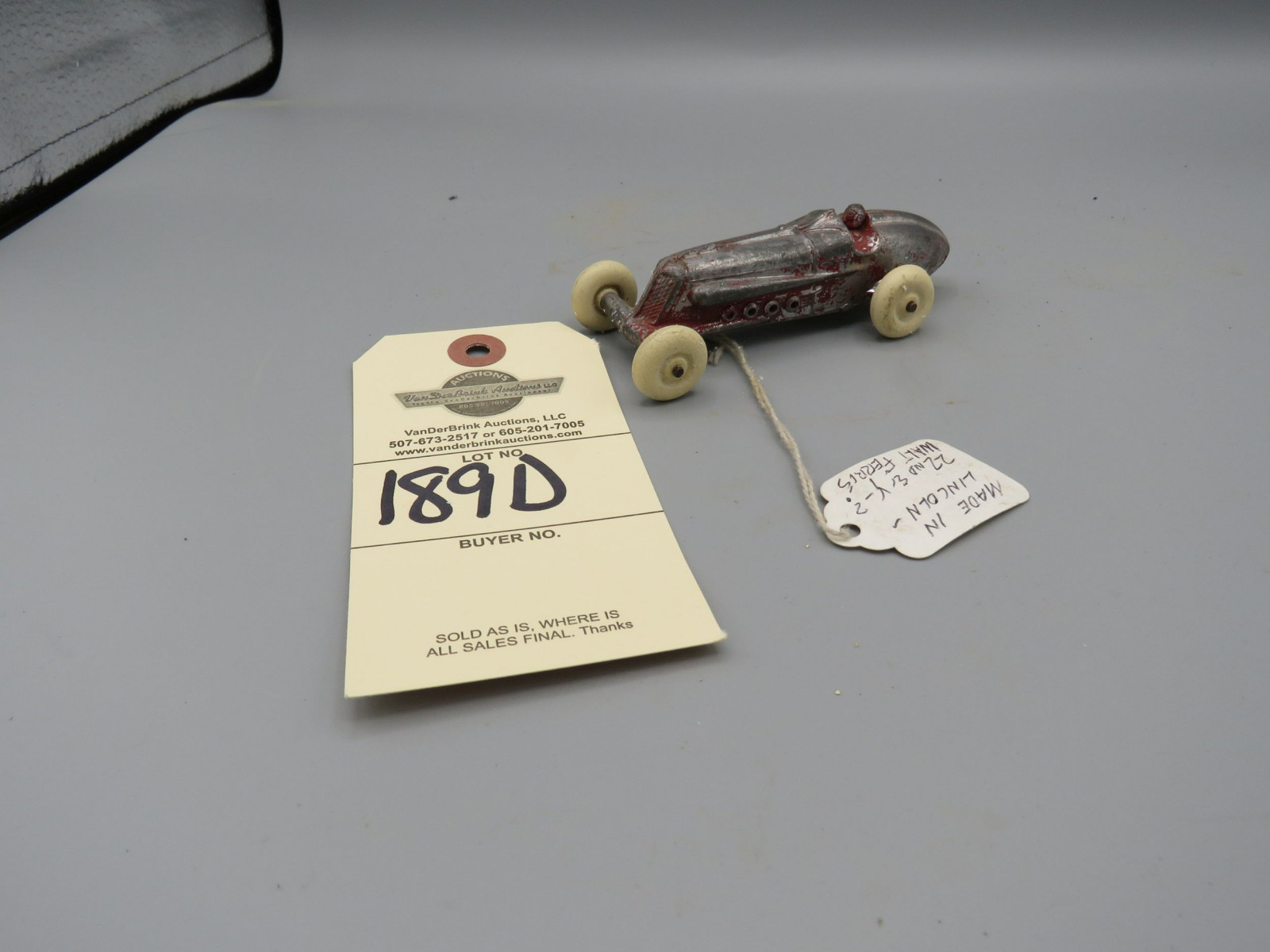 Rare Slush Cast Racer from Walt Ferris made in Lincoln,  Ne #LWV28  Approx. 2 inches - Image 1