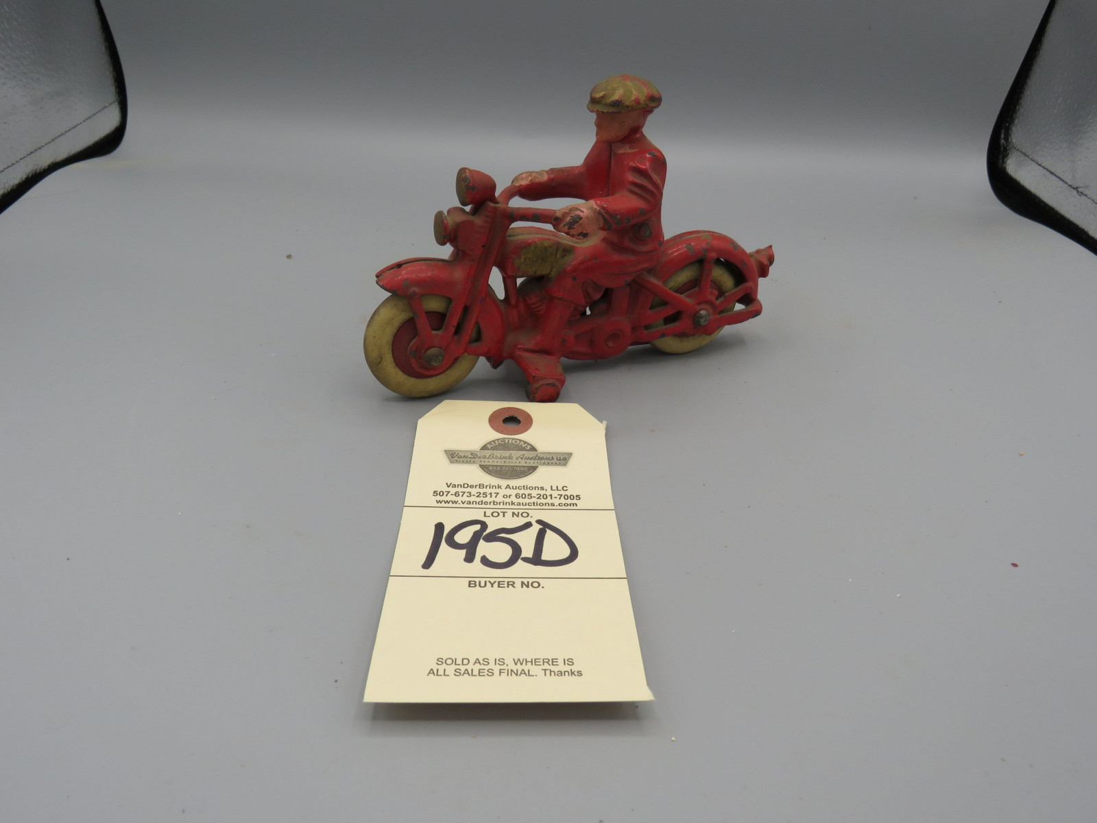 Hubley Motorcycle Cast Iron with Civilian Rider with Rubber Wheels Approx. 6 1/4 inches - Image 1
