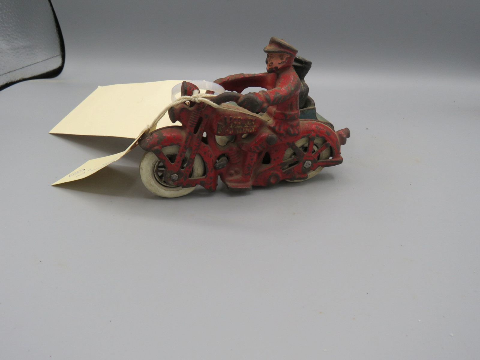Marx Tip Over Motorcycle @1930's Approx. 8 inches Pressed Tin Friction Toy - Image 1
