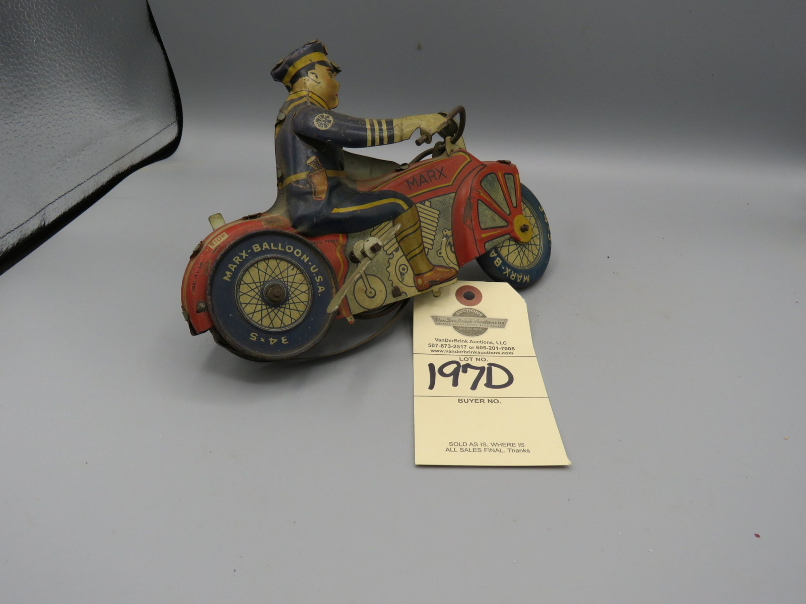 Marx Tip Over Motorcycle @1930's Approx. 8 inches Pressed Tin Friction Toy - Image 2