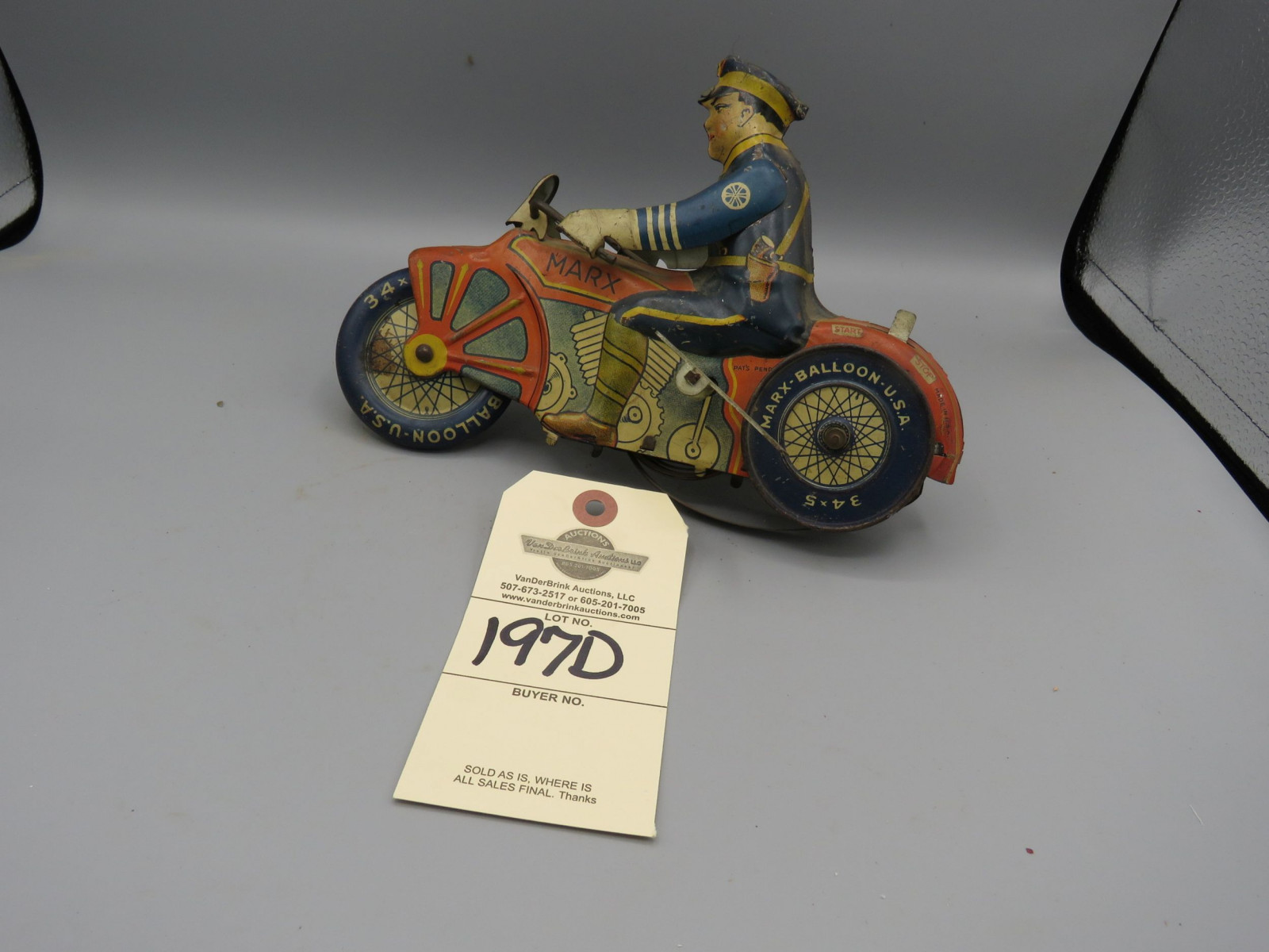 Marx Tip Over Motorcycle @1930's Approx. 8 inches Pressed Tin Friction Toy - Image 3