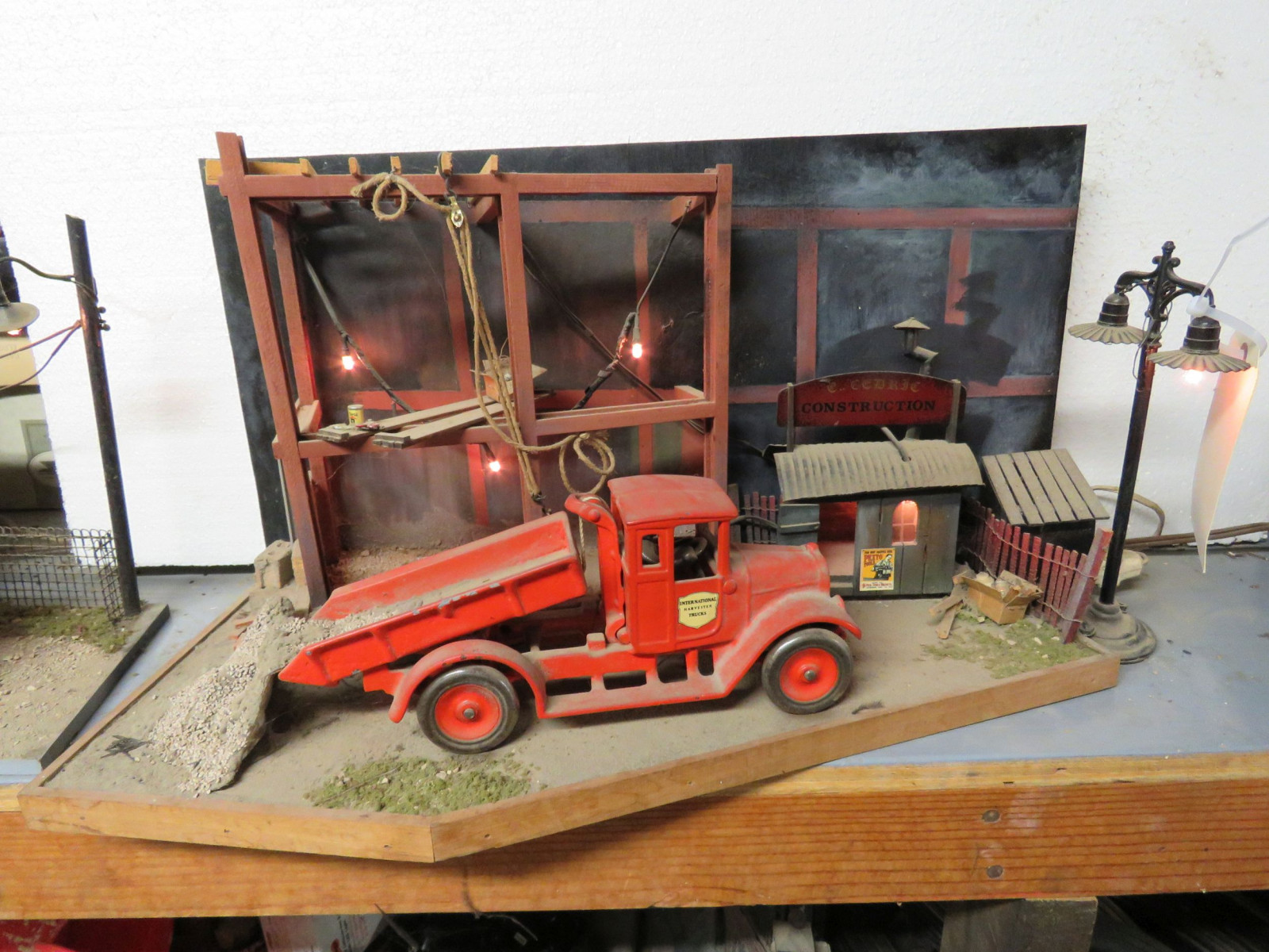 Construction Site Diorama with Vintage Cast Iron Arcade IH Truck - Image 1
