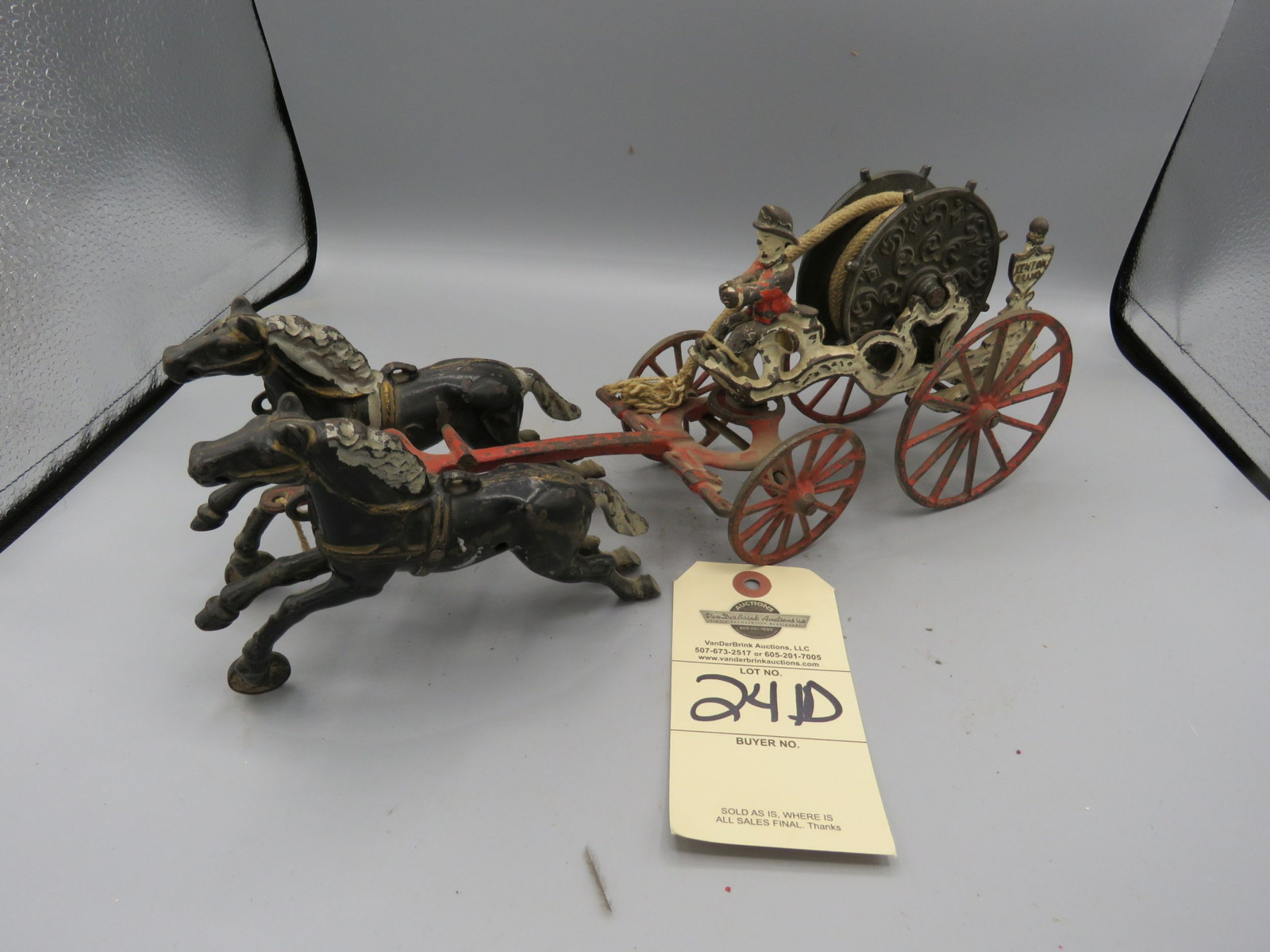 Kenton Cast Iron Fire Hose Reel Wagon Horse Drawn Toy - Image 1