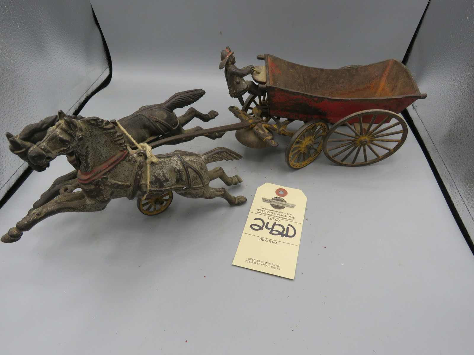 Vintage Cast Iron Fire Wagon- Horse Drawn - Image 1