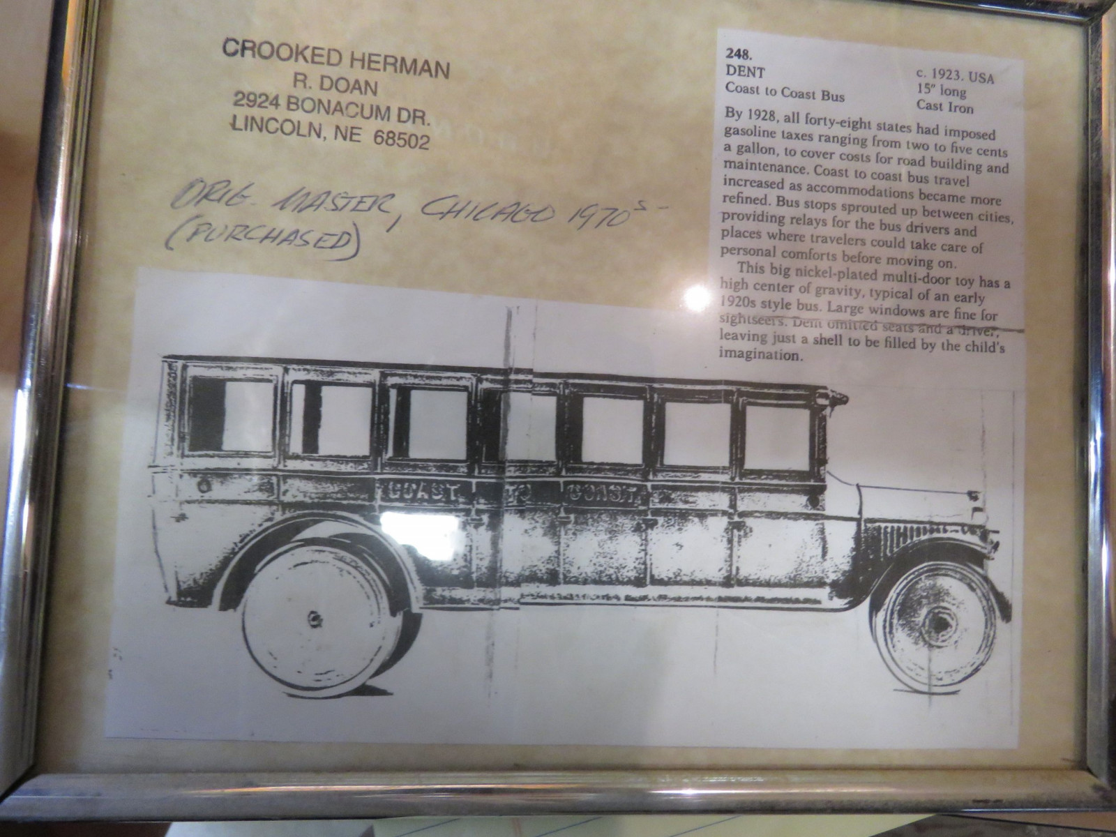 Original Master Denton Cast Iron Bus for Toy - Image 2