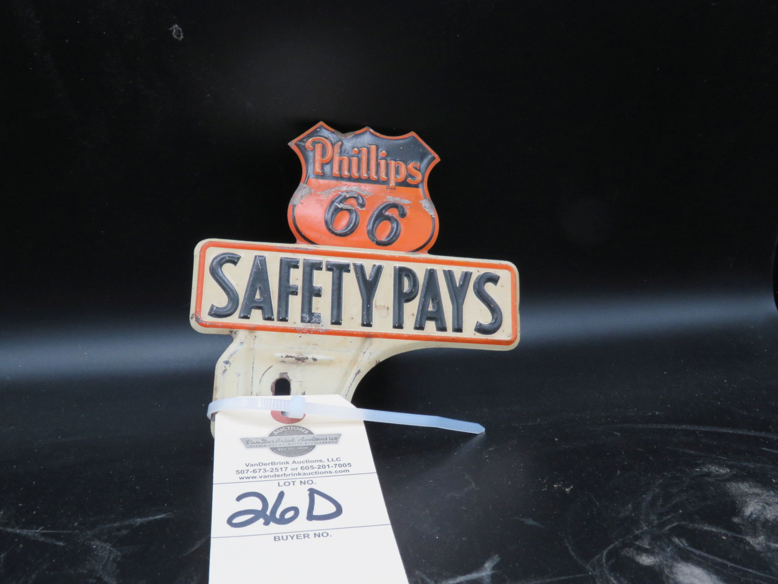 Vintage Phillips 66 License Plate Topper - Image 1