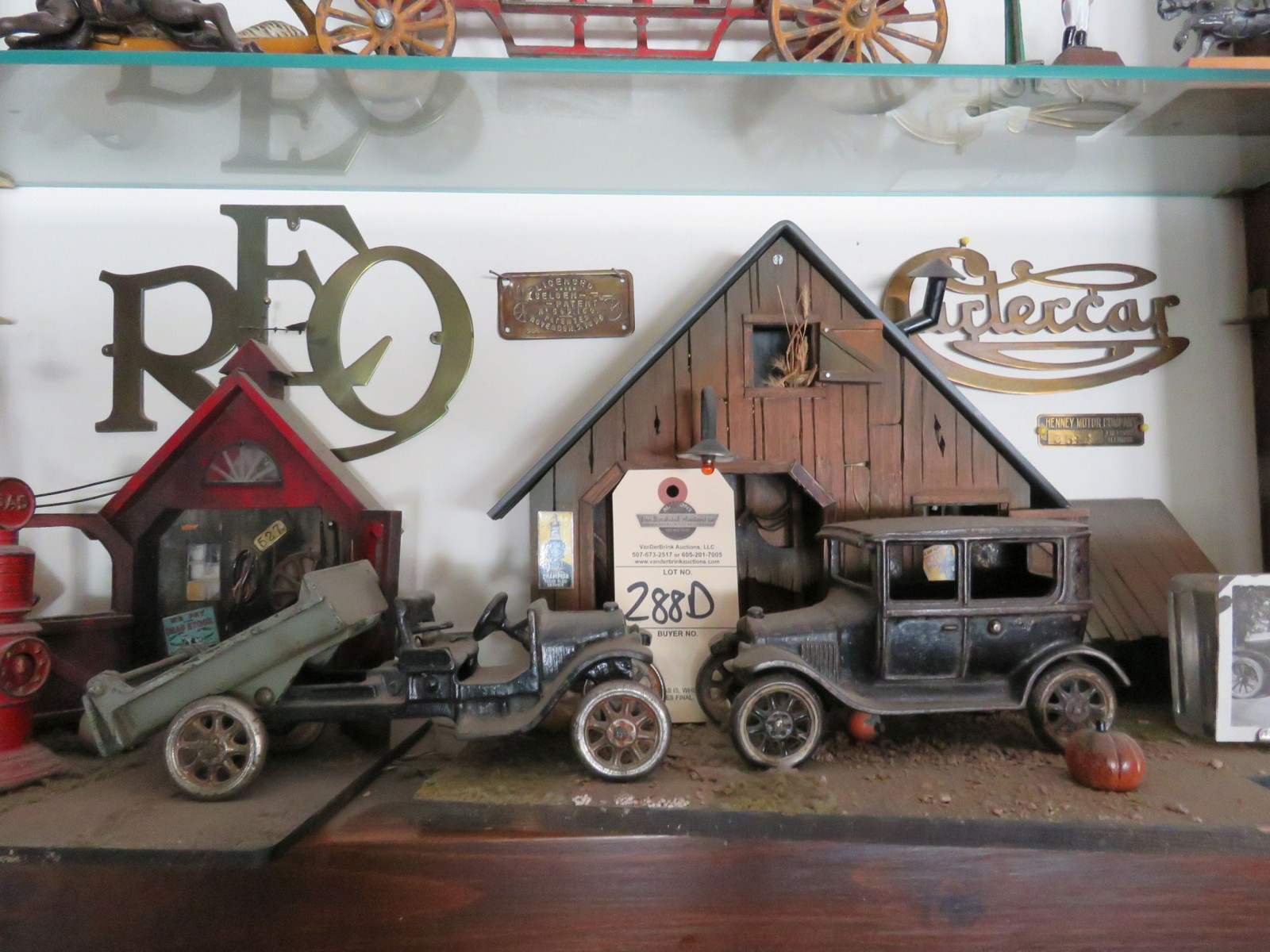 Repair Shop Diorama with Vintage Cast Iron Trucks - Image 1