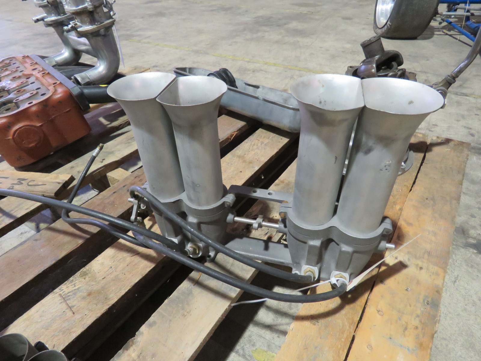 Vintage Aluminum Intake 4 cylinder with velocity stacks - Image 2