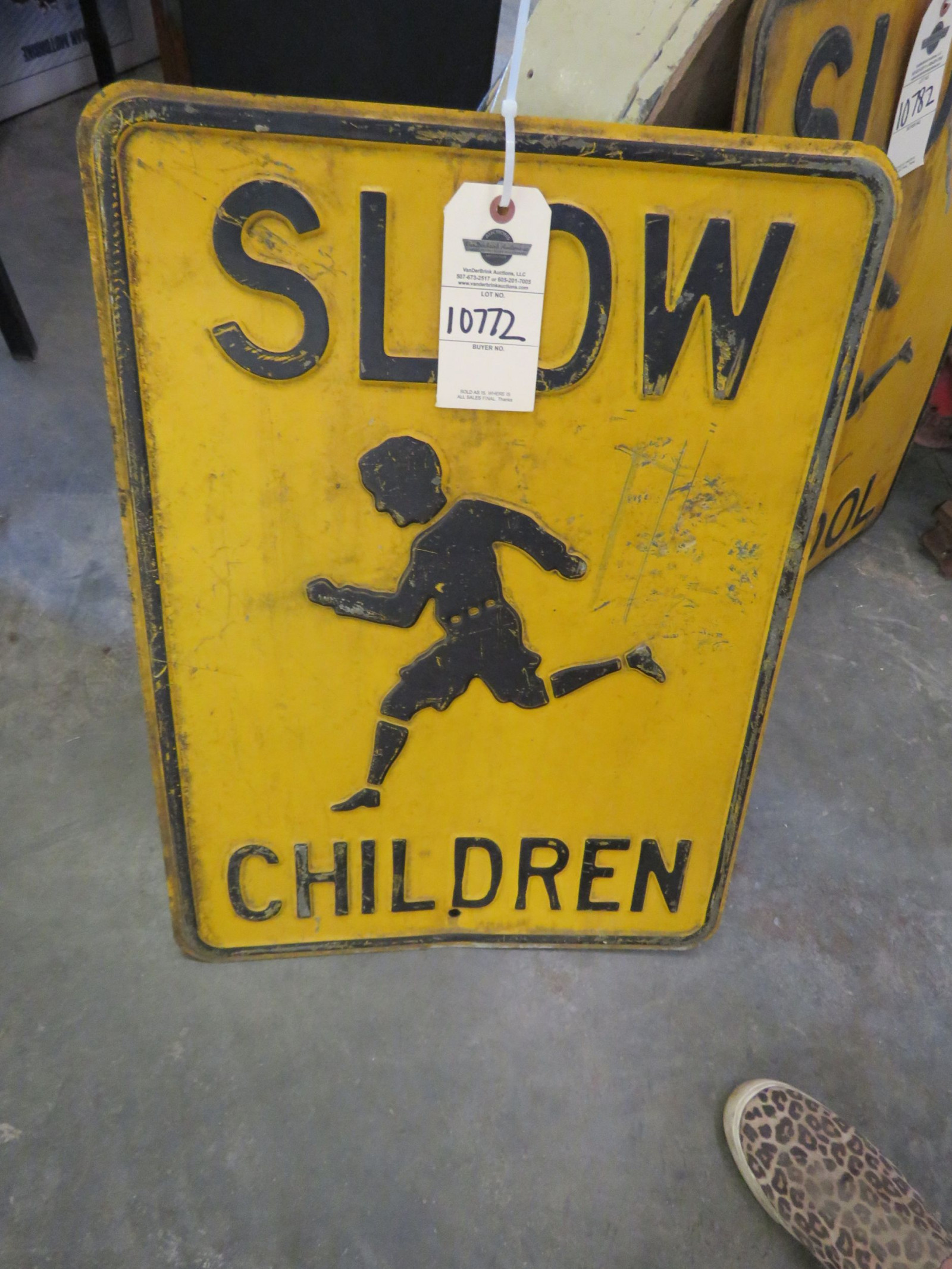 Vintage Single Sided Metal Children at Play Sign - Image 1