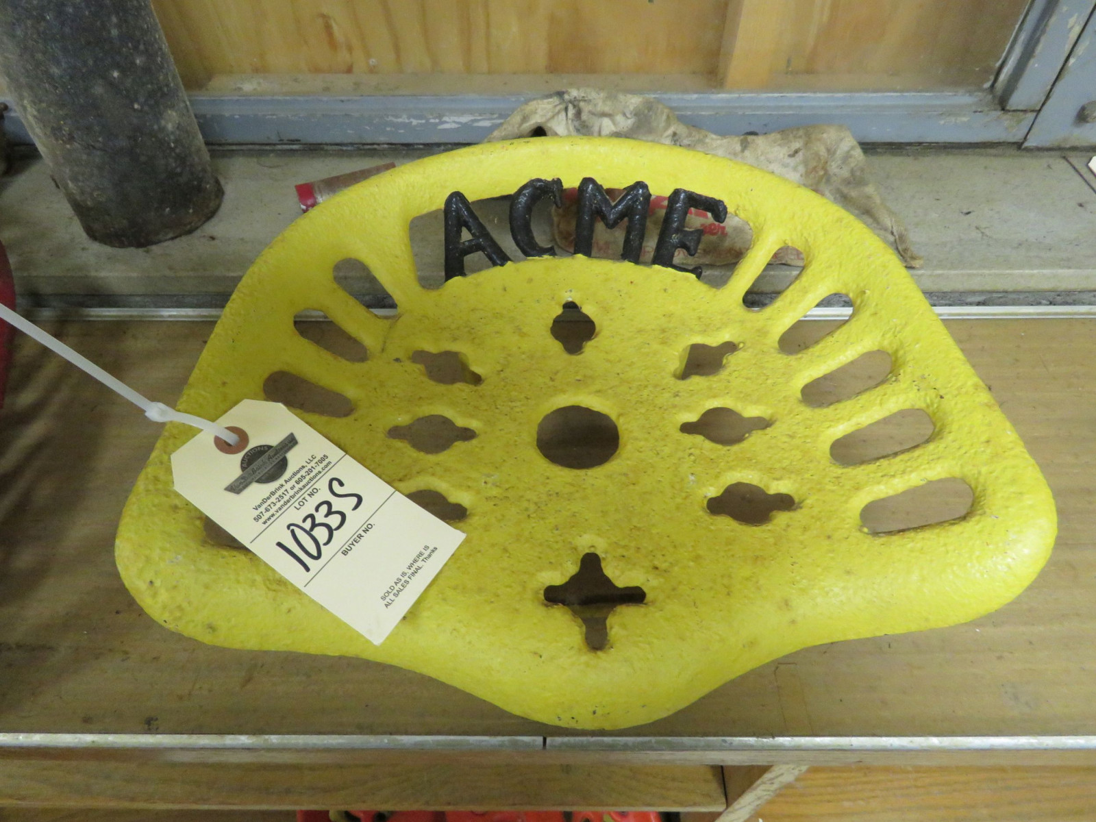 Restored Acme Cast Iron Implement Seat - Image 1