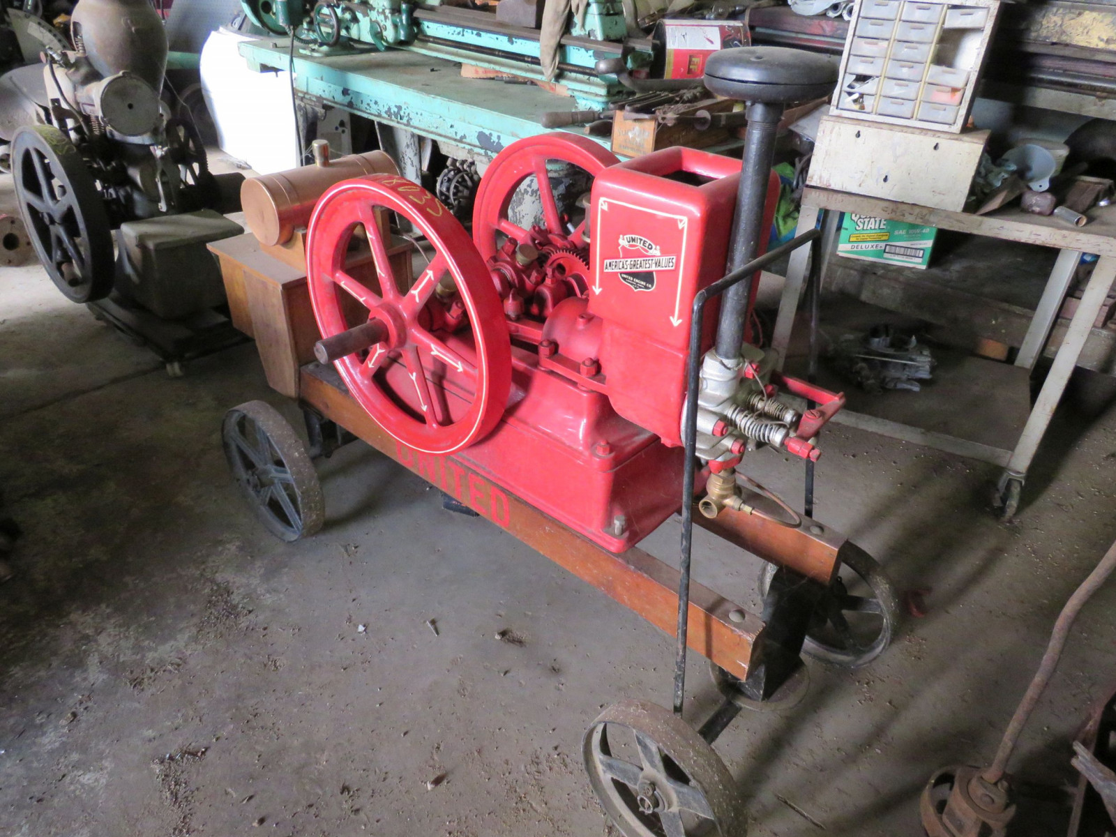 Restored 1916 United Stationary Gas Engine on Cart - Image 1