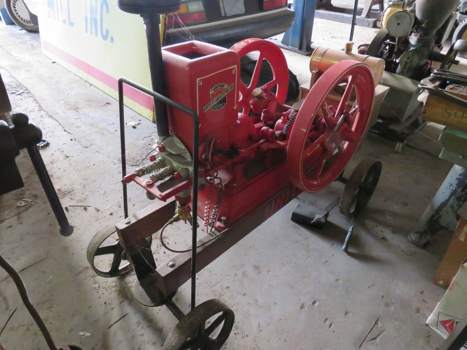 Restored 1916 United Stationary Gas Engine on Cart - Image 3