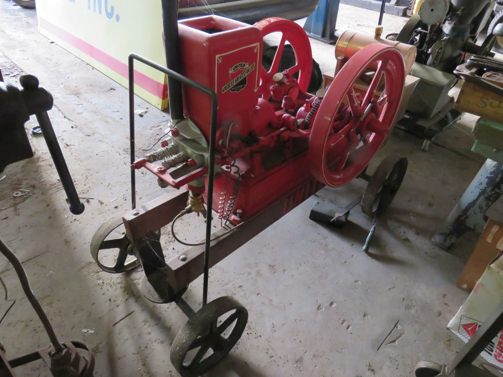 Restored 1916 United Stationary Gas Engine on Cart - Image 4