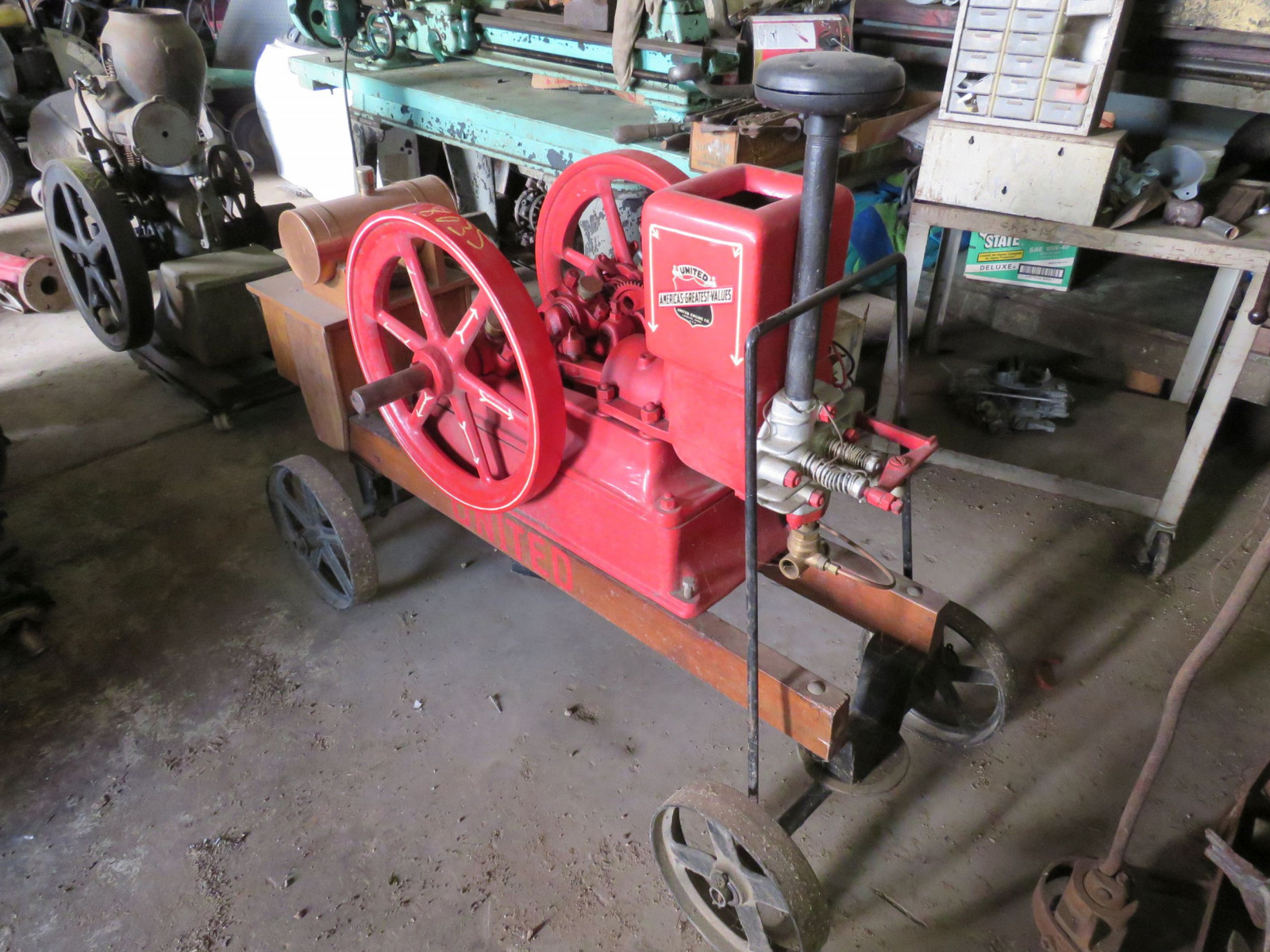 Restored 1916 United Stationary Gas Engine on Cart - Image 5