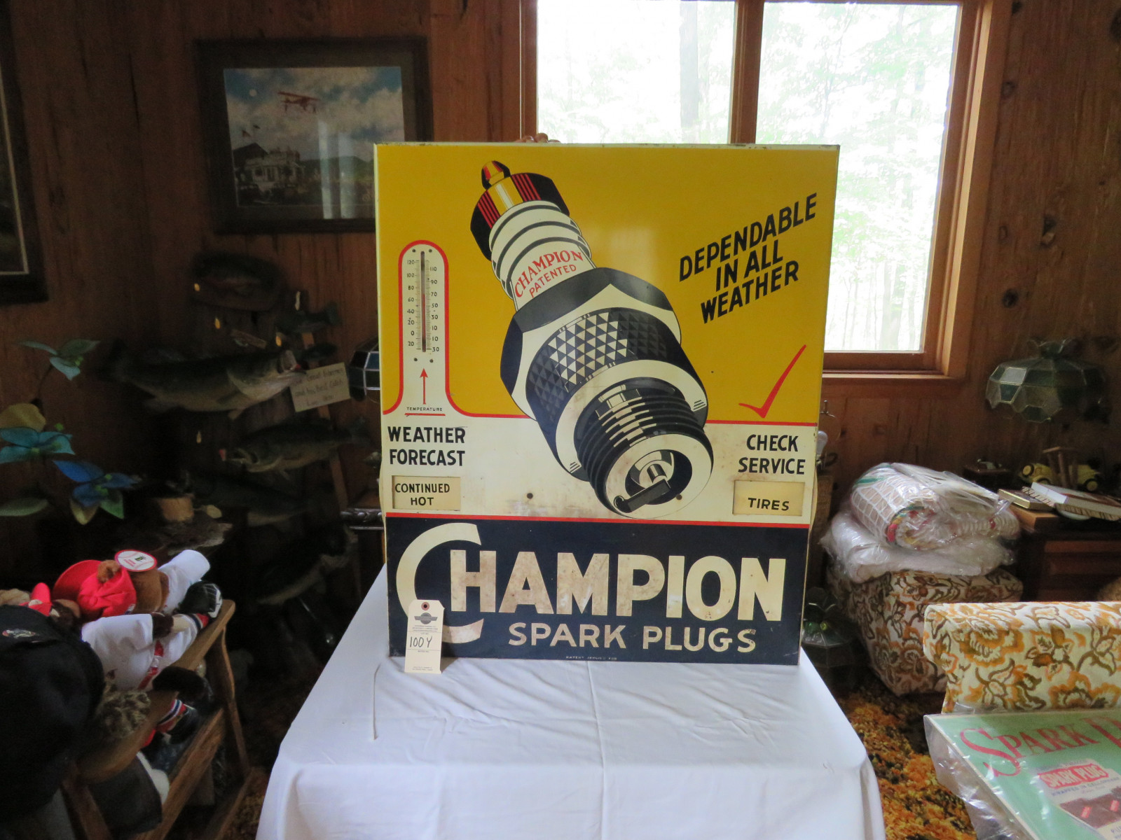 Champion Spark Plugs 28x34 Single Sided Painted Tin Sign - Image 1