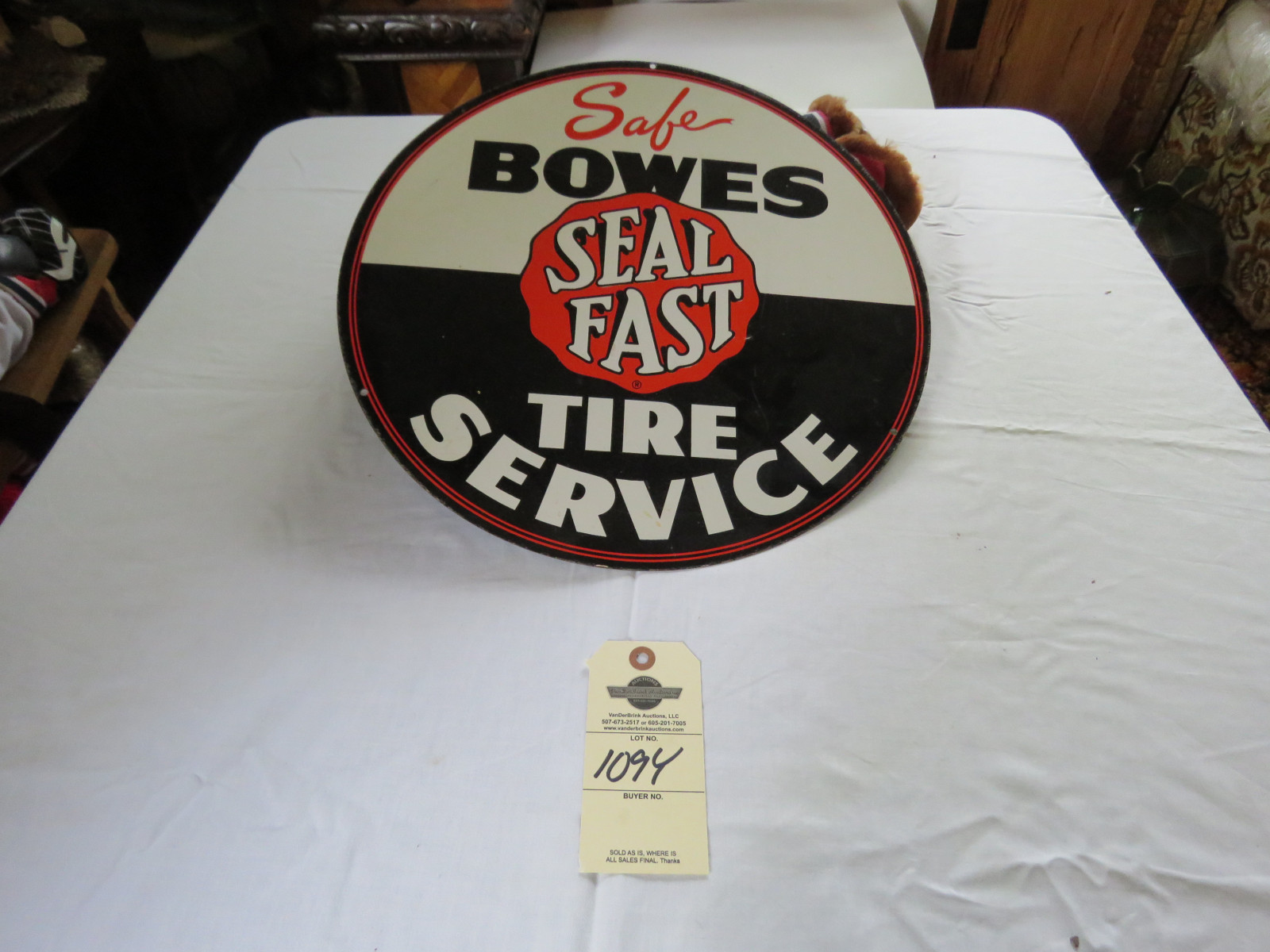 16 inch Bowes Service Single Sided Painted Tin Sign - Image 1