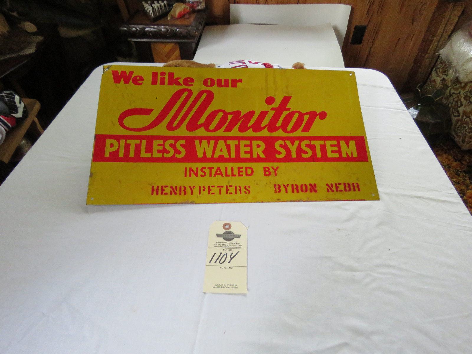 Monitor Water Systems Single Sided Painted Tin 20x11 inch Sign - Image 1
