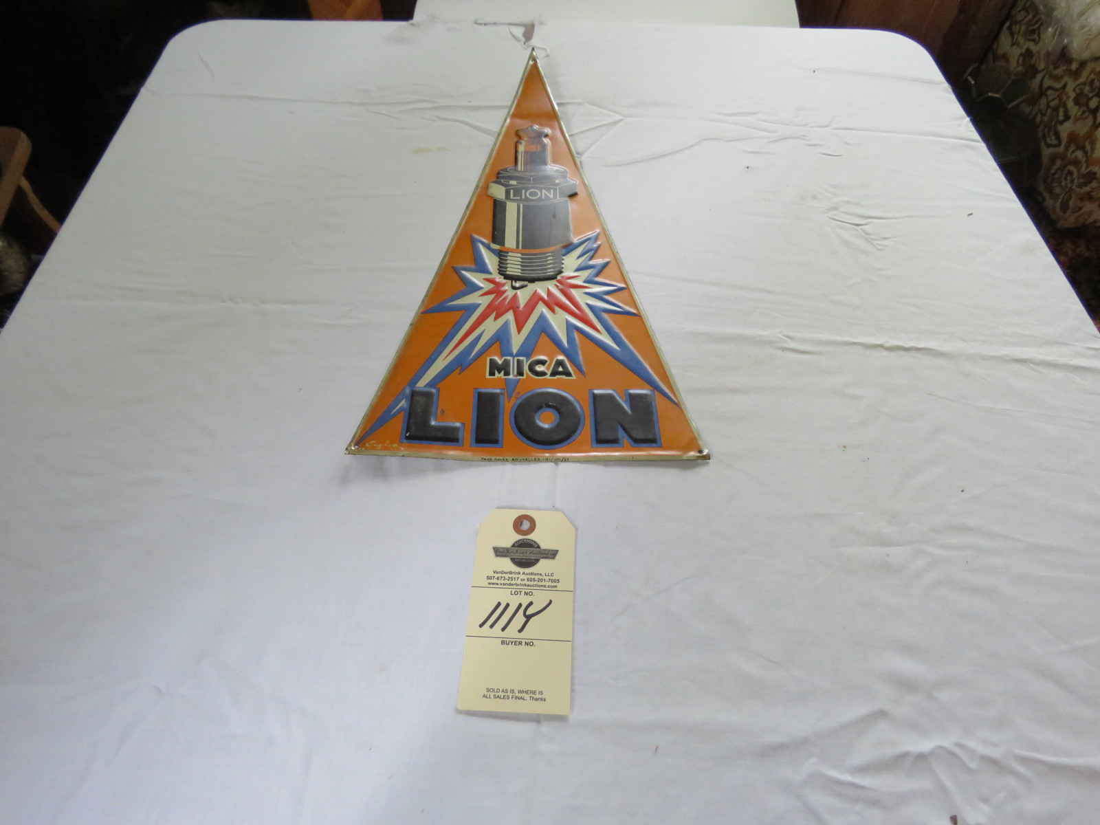 MICA Lion Vintage Pzainted Tin Advetising - Image 1