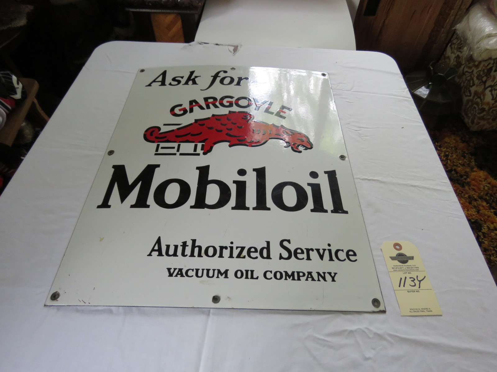 Porcelain Mobiloil Singles Sided Sign - Image 1